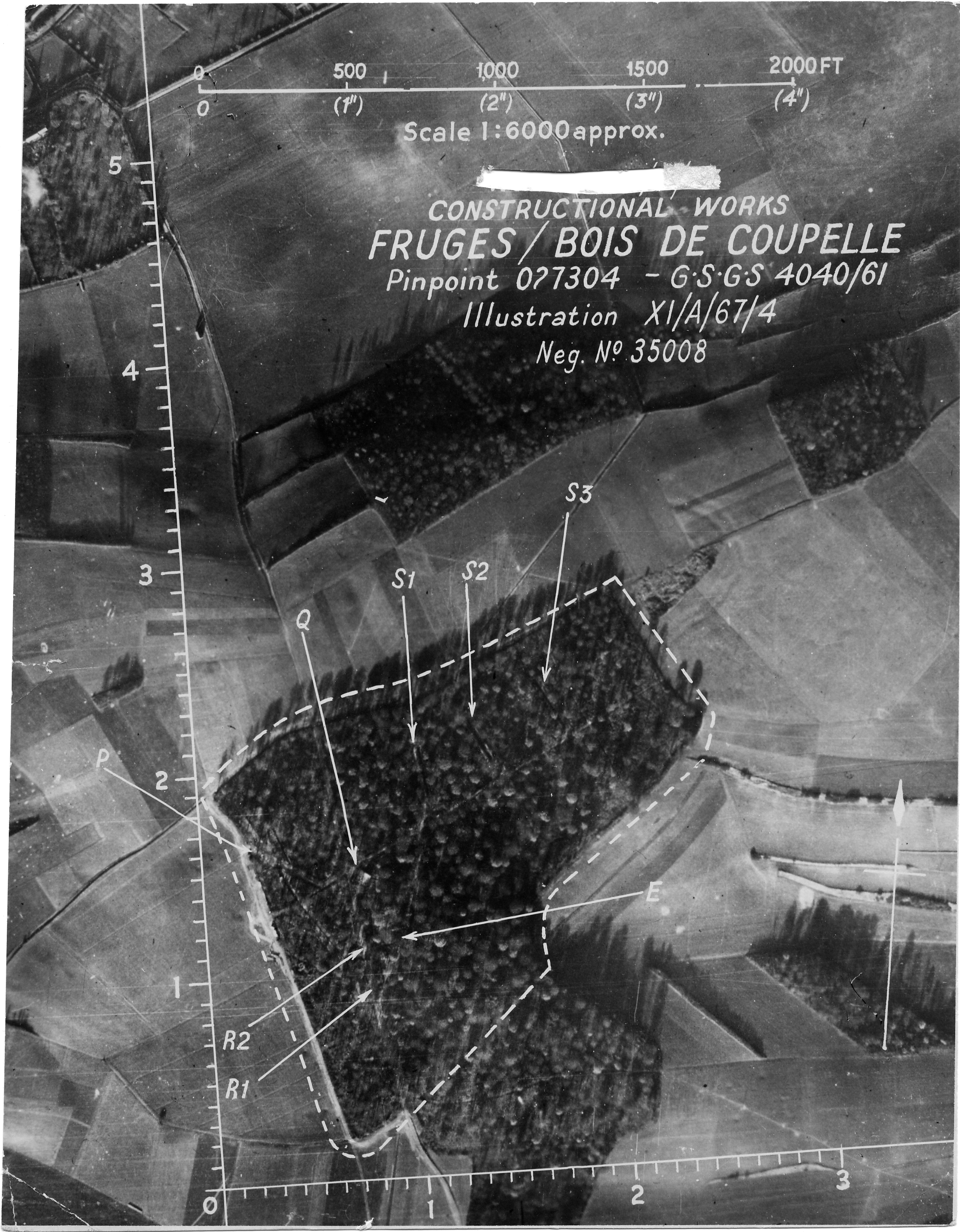 USAAAF 7PG22FS aerial recon photo to Bois de Radinghem V Weapons Noball France July 7 1944 01