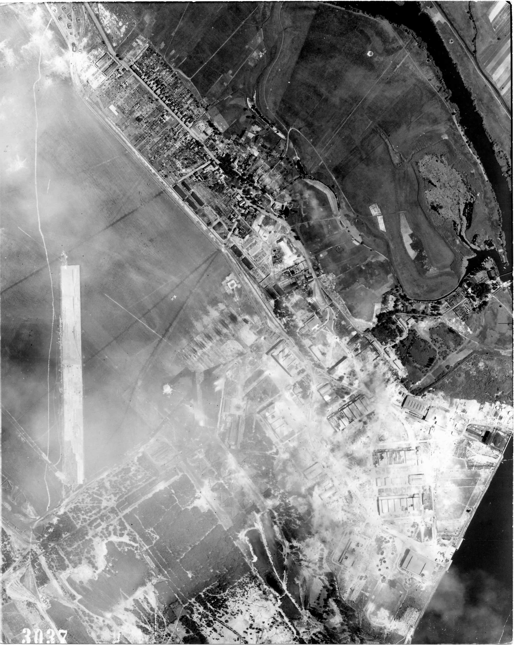 USAAAF 7PG22FS aerial recon photo to Brandenburg Airfield Germany August 6 1944 01