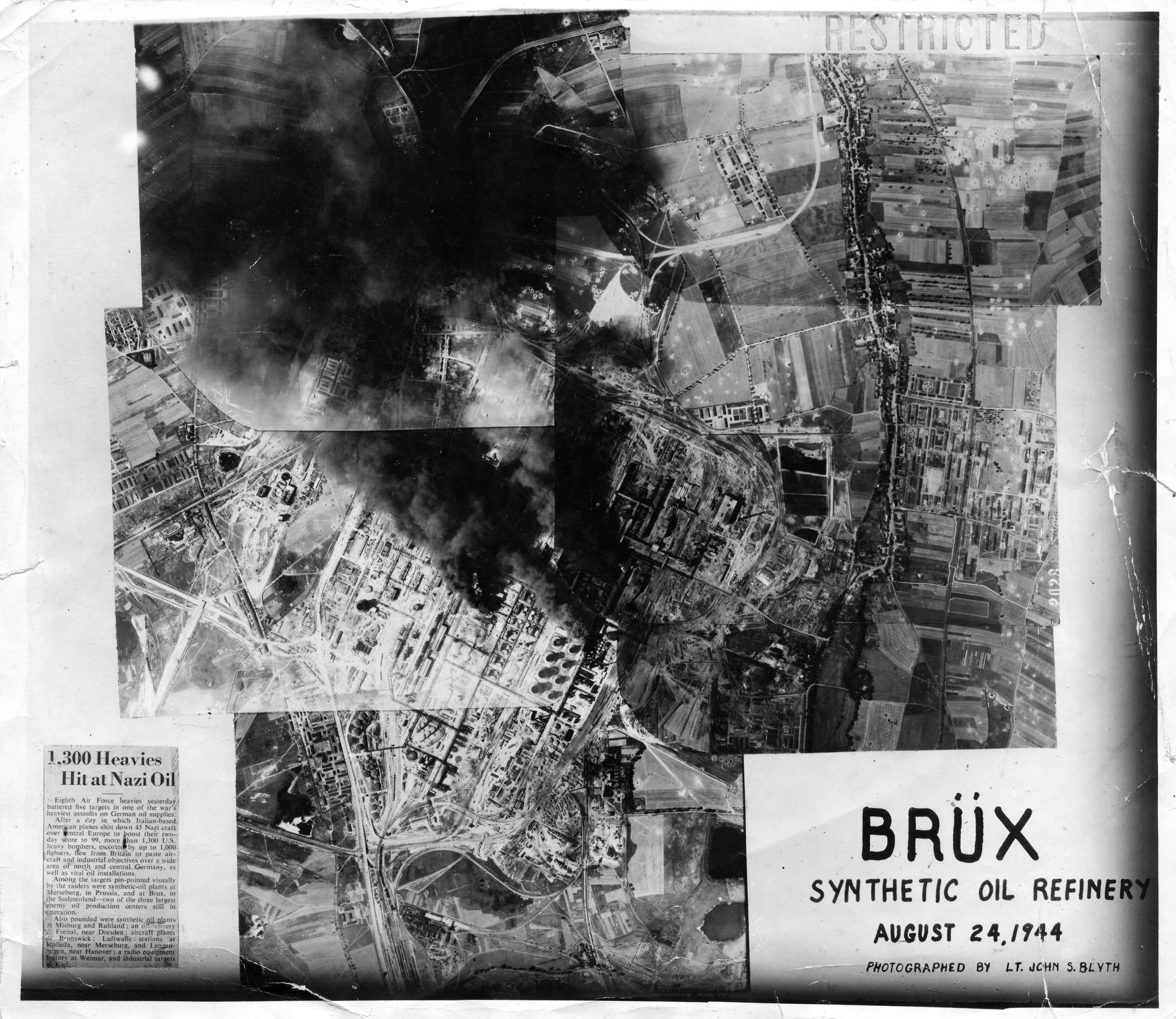USAAAF 7PG22FS aerial recon photo to Brux Oil Refinery Germany 1944 01