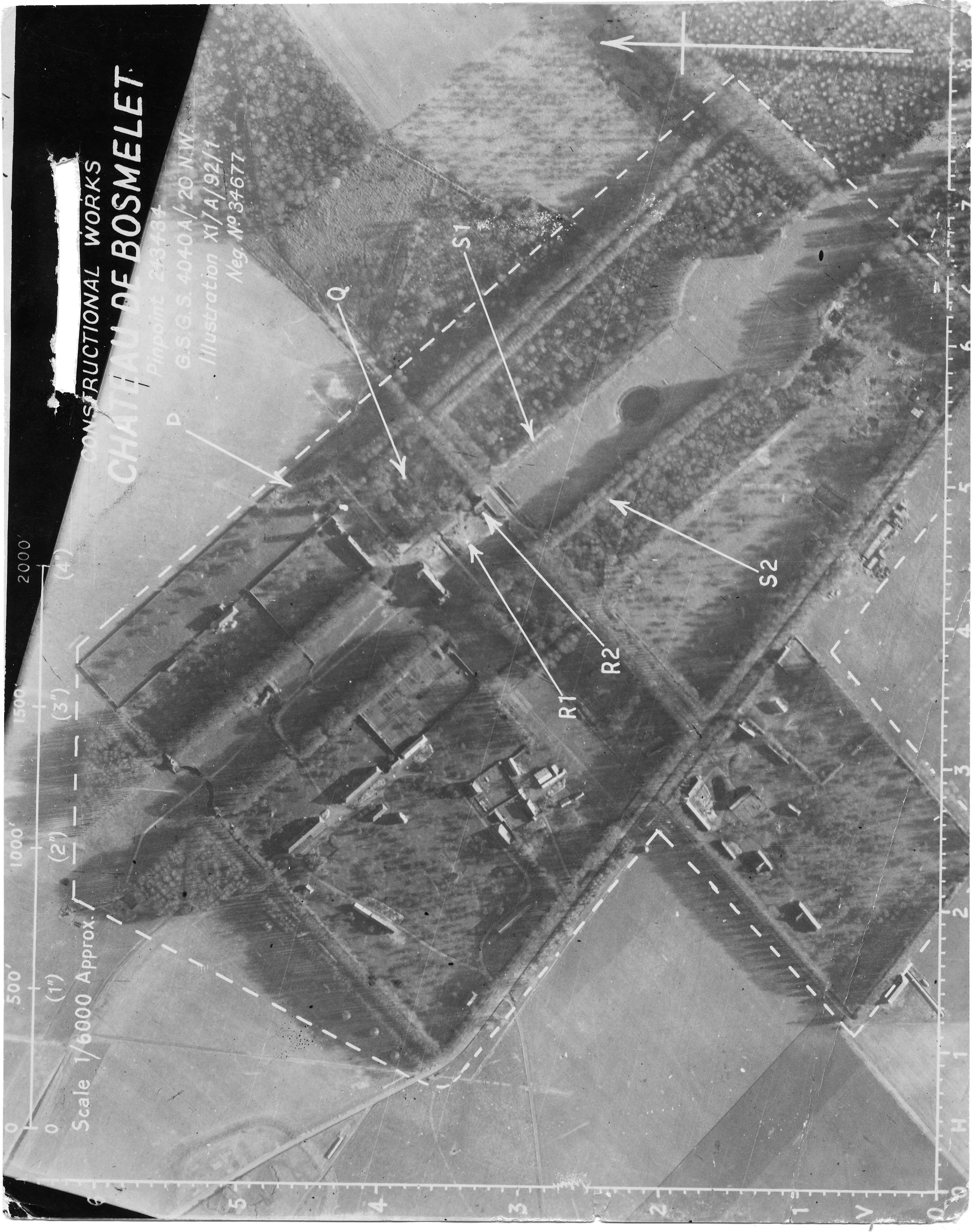 USAAAF 7PG22FS aerial recon photo to Chateau De Bosmelet V Weapons Noball France Aug 6 1944 01