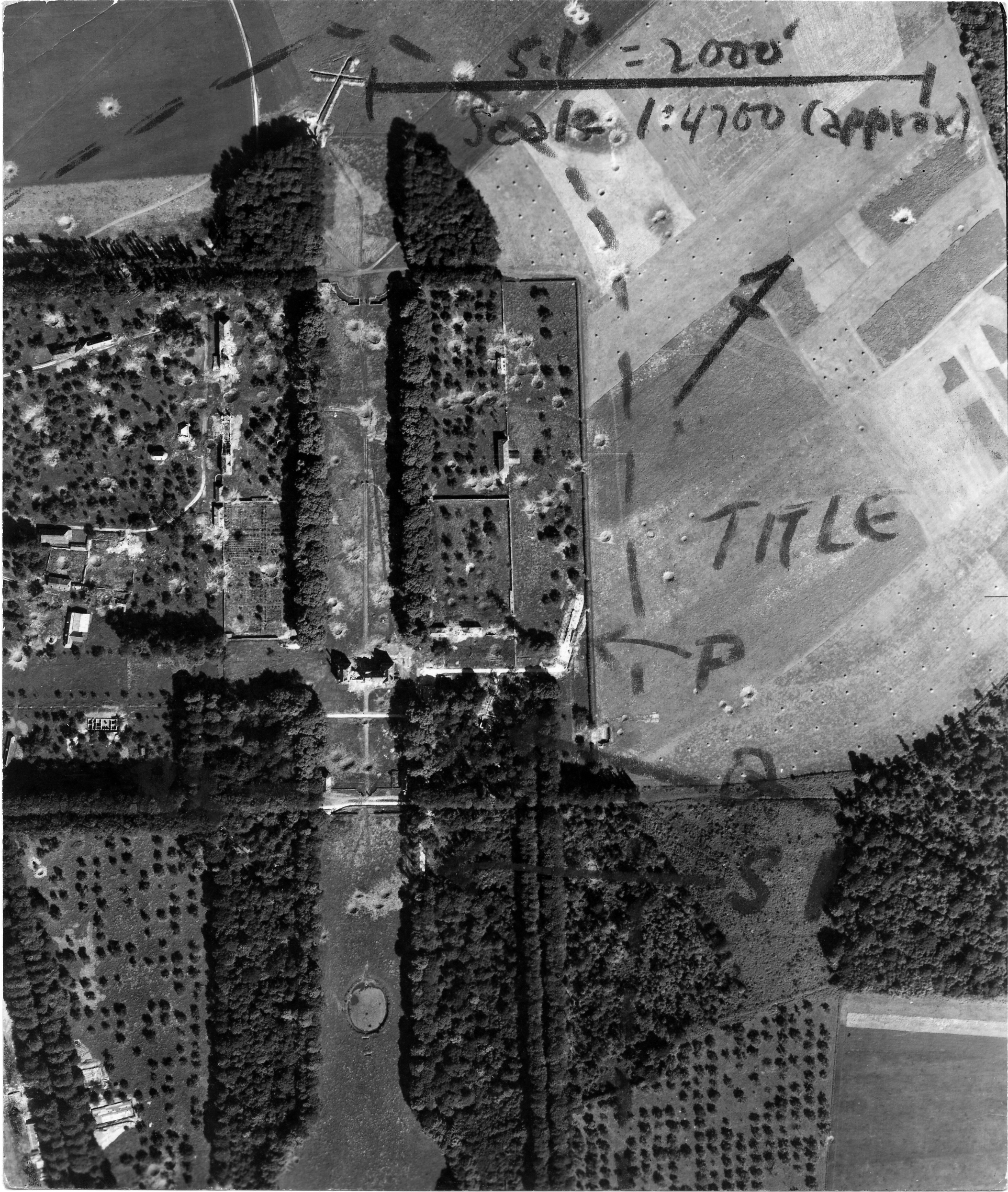 USAAAF 7PG22FS aerial recon photo to Chateau De Bosmelet V Weapons Noball France Aug 6 1944 02