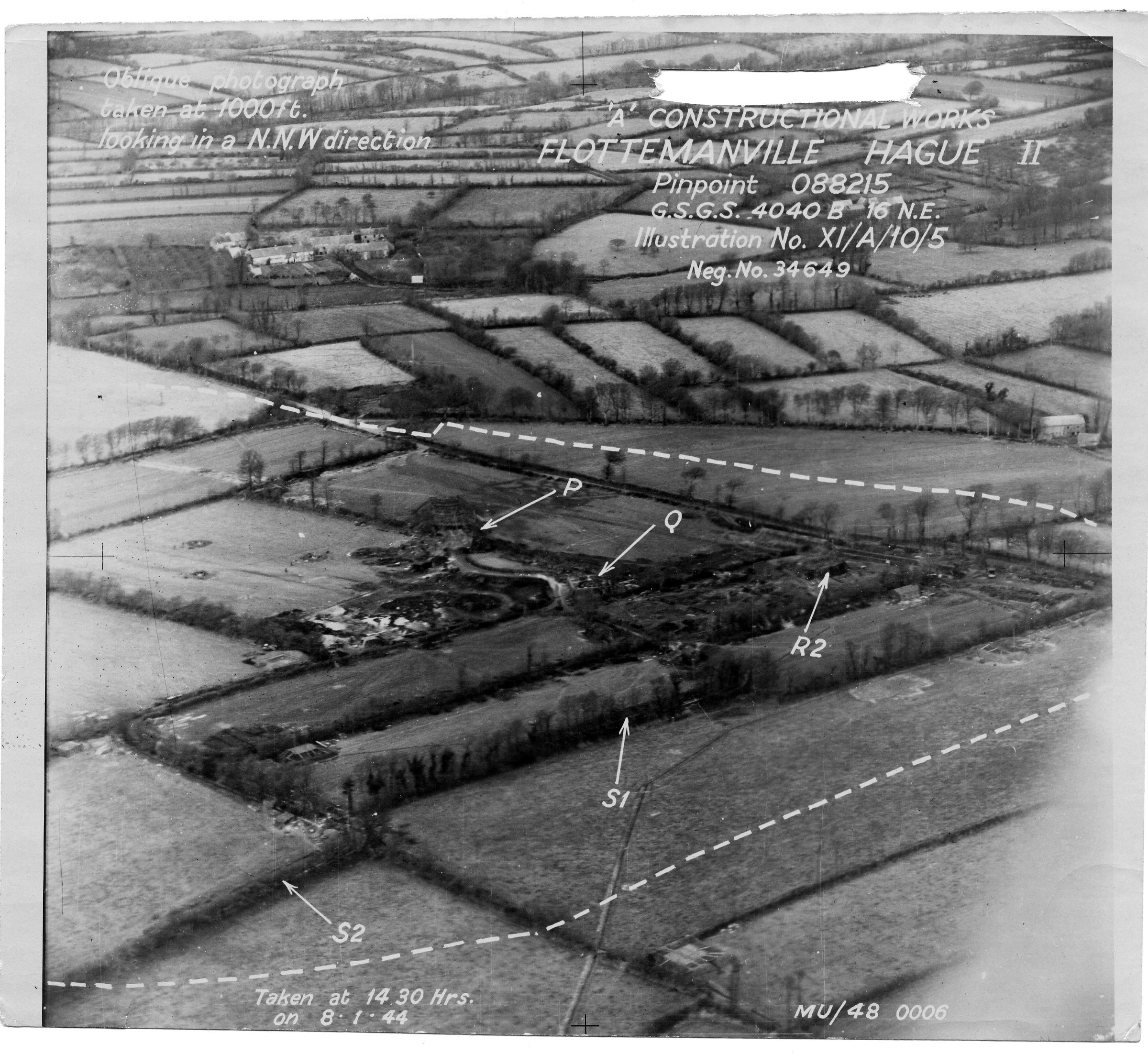 USAAAF 7PG22FS aerial recon photo to Flottemanville Hague V Weapons Noball France July 7 1944 01