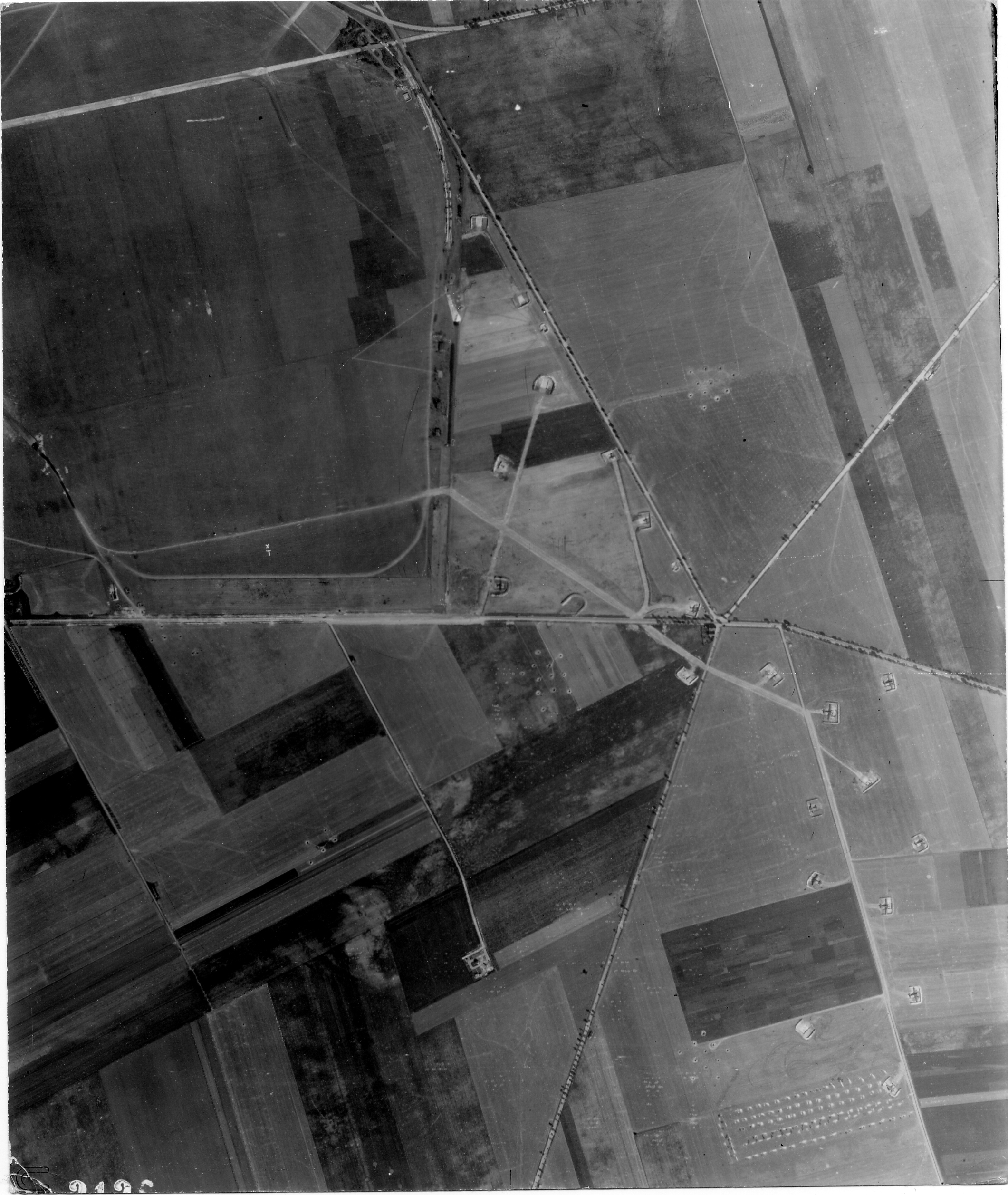 USAAAF 7PG22FS aerial recon photo to Koethen Airfield Germany Aug 24 1944 01