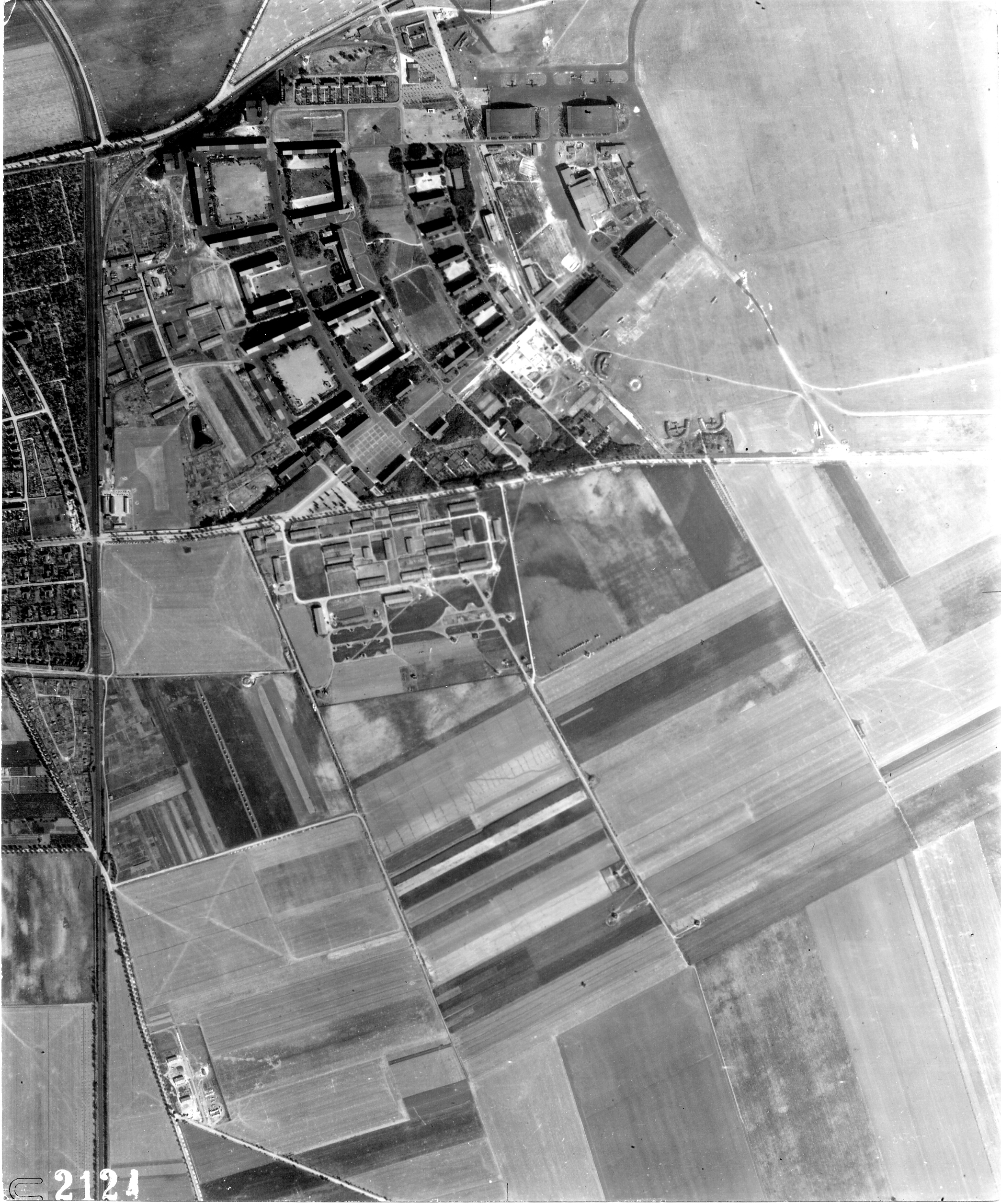 USAAAF 7PG22FS aerial recon photo to Koethen Airfield Germany Aug 24 1944 03