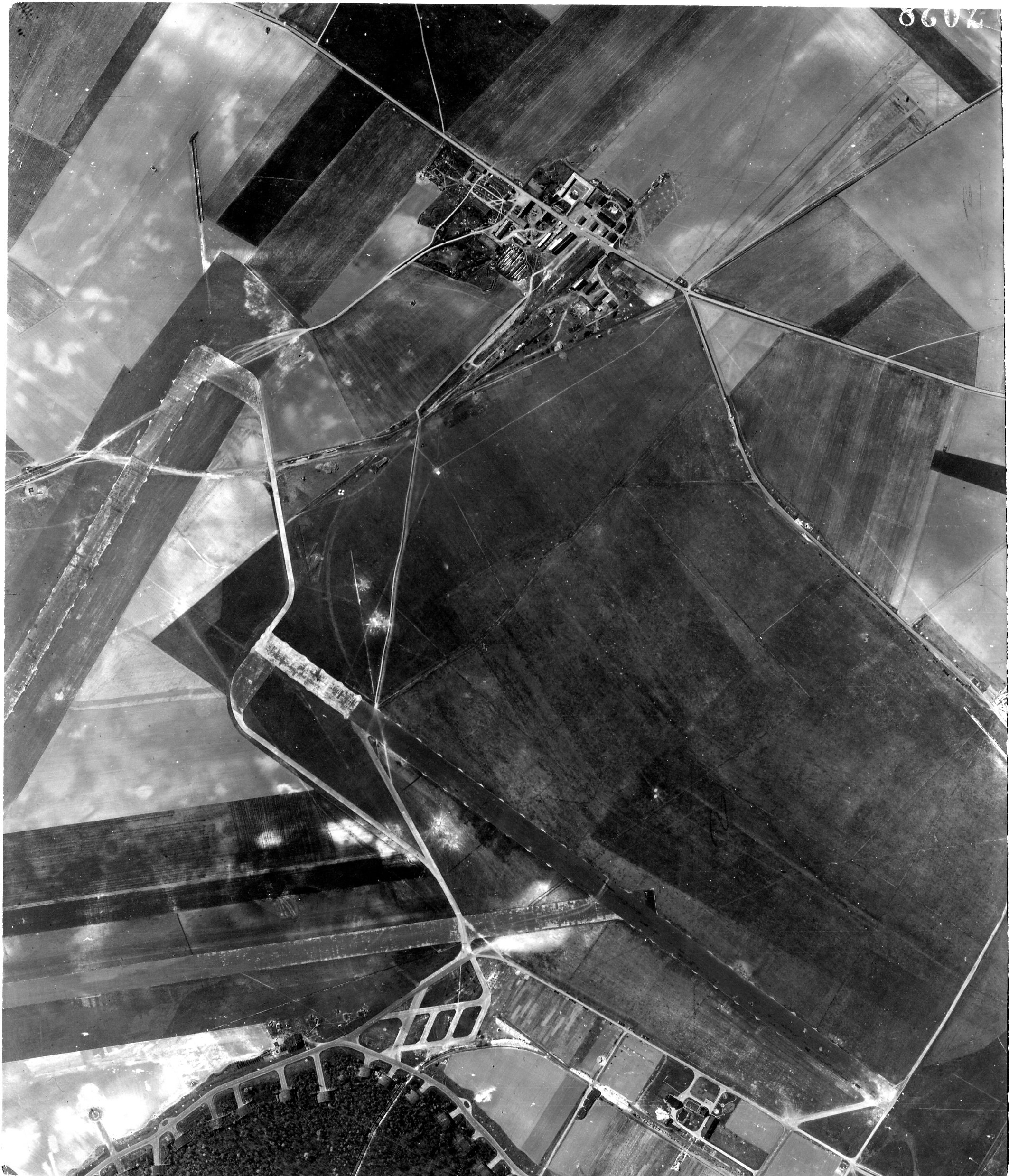 USAAAF 7PG22FS aerial recon photo to Laon Athies Airfield France Apr 23 1944 01