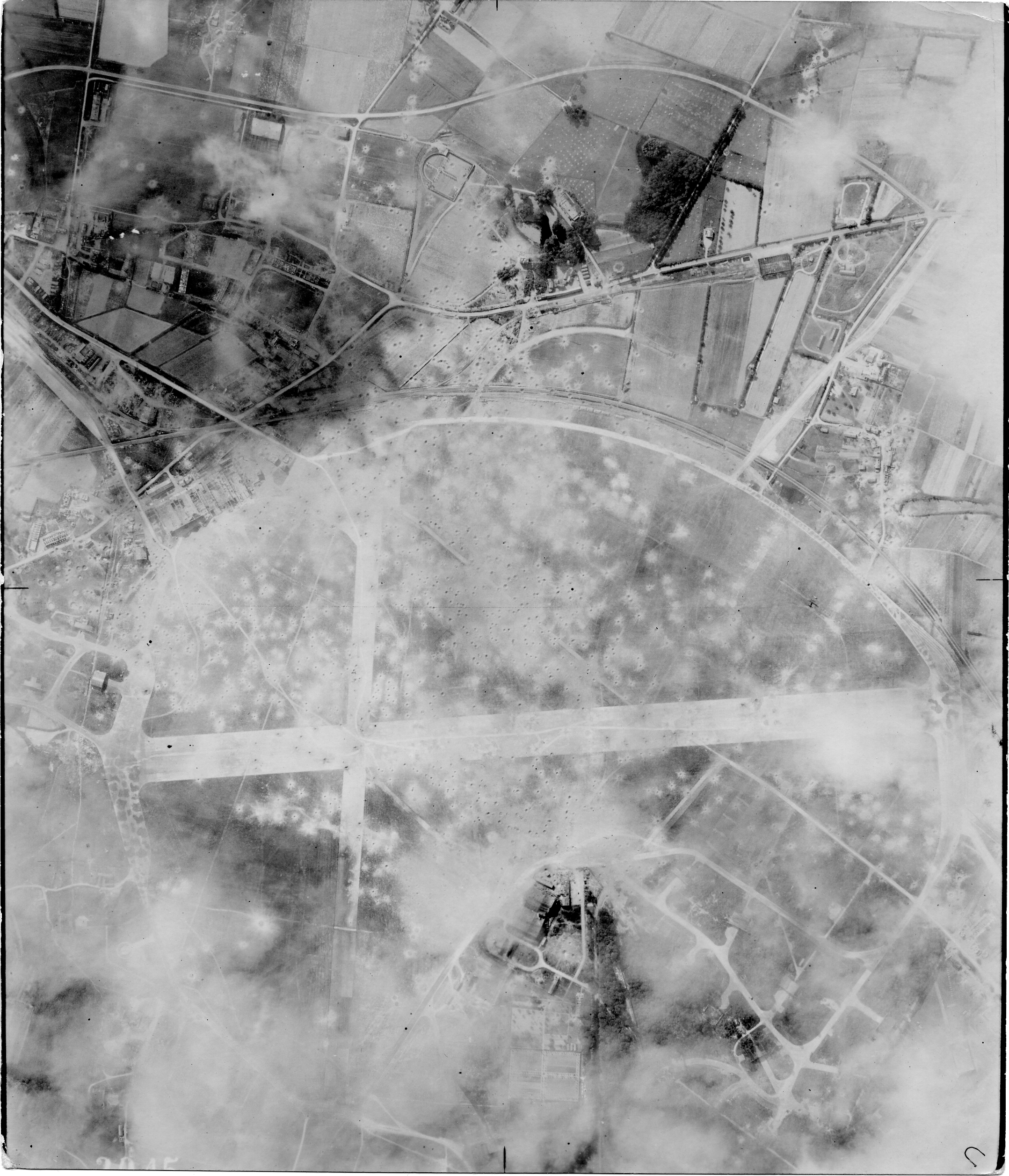 USAAAF 7PG22FS aerial recon photo to Nantes Airfield France June 12 1944 01