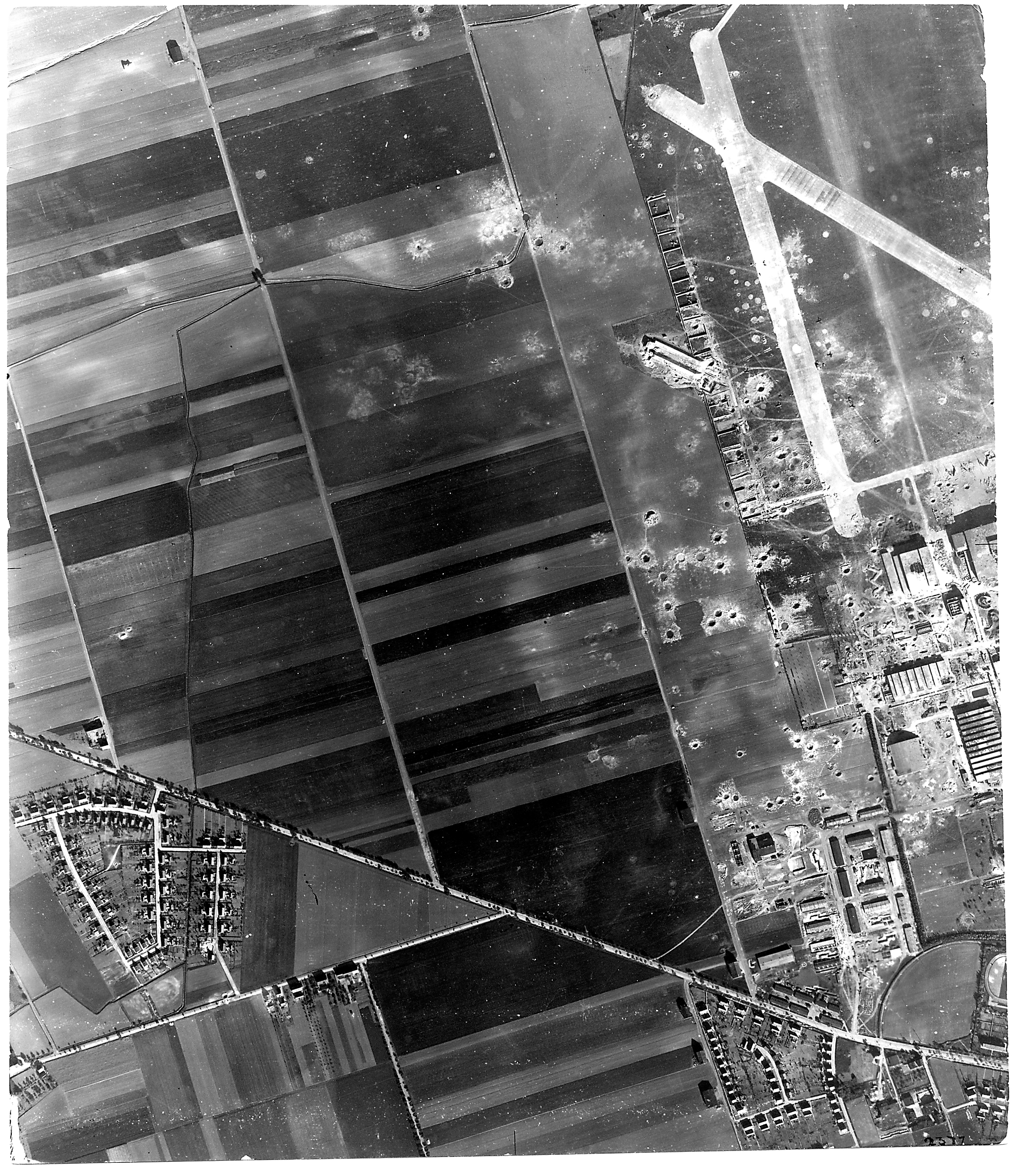 USAAAF 7PG22FS aerial recon photo to Oschersleben Airfield Germany May 30 1944 01