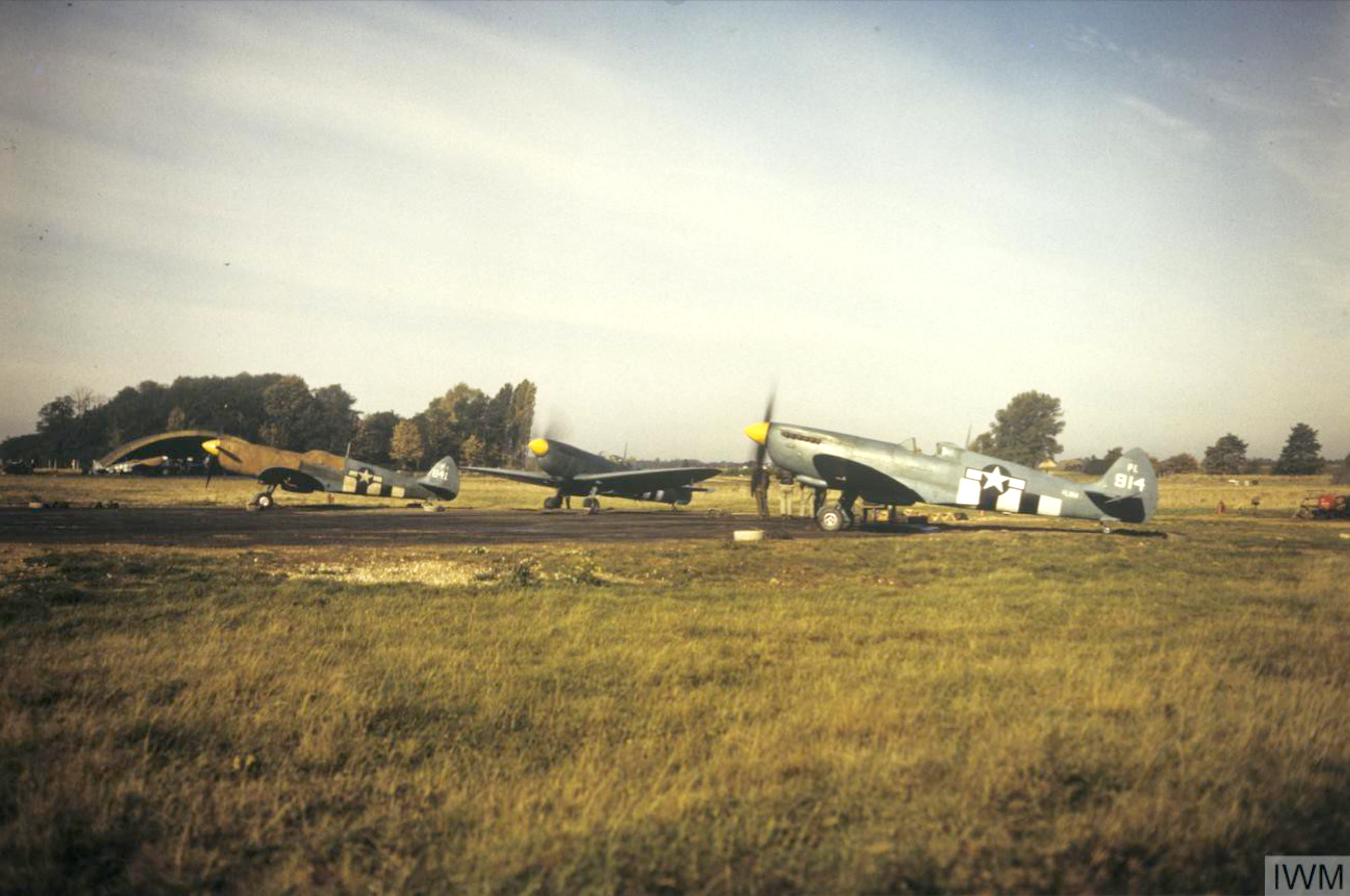 Spitfire PRXIT USAAF 7PG14PS PA814 and PL914 Mount Farm England 1944 IWM FRE5384