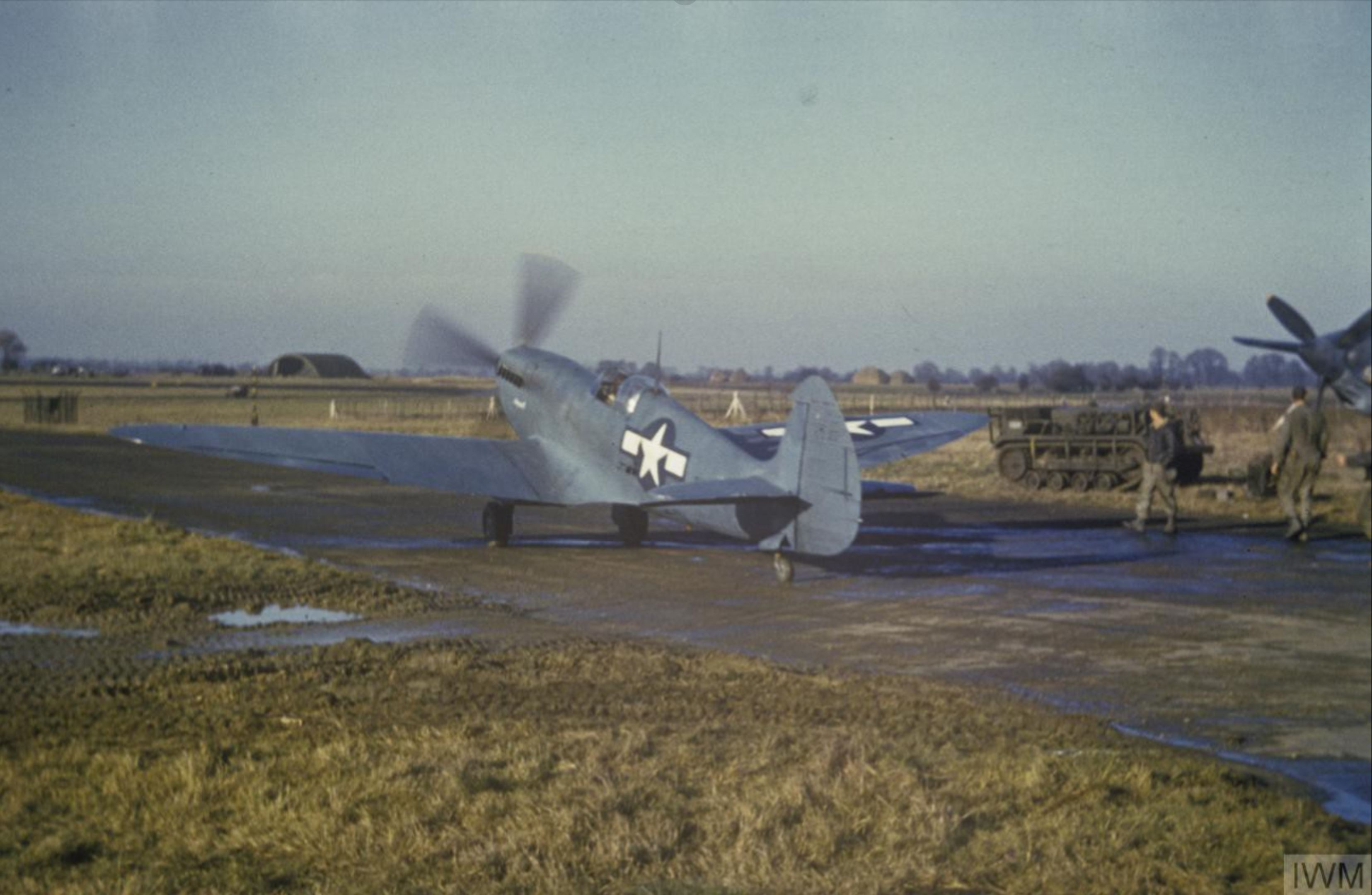 Spitfire PRXIT USAAF 7PG14PS Upstairs Maid MB950 Mount Farm England 1943 IWM FRE5403