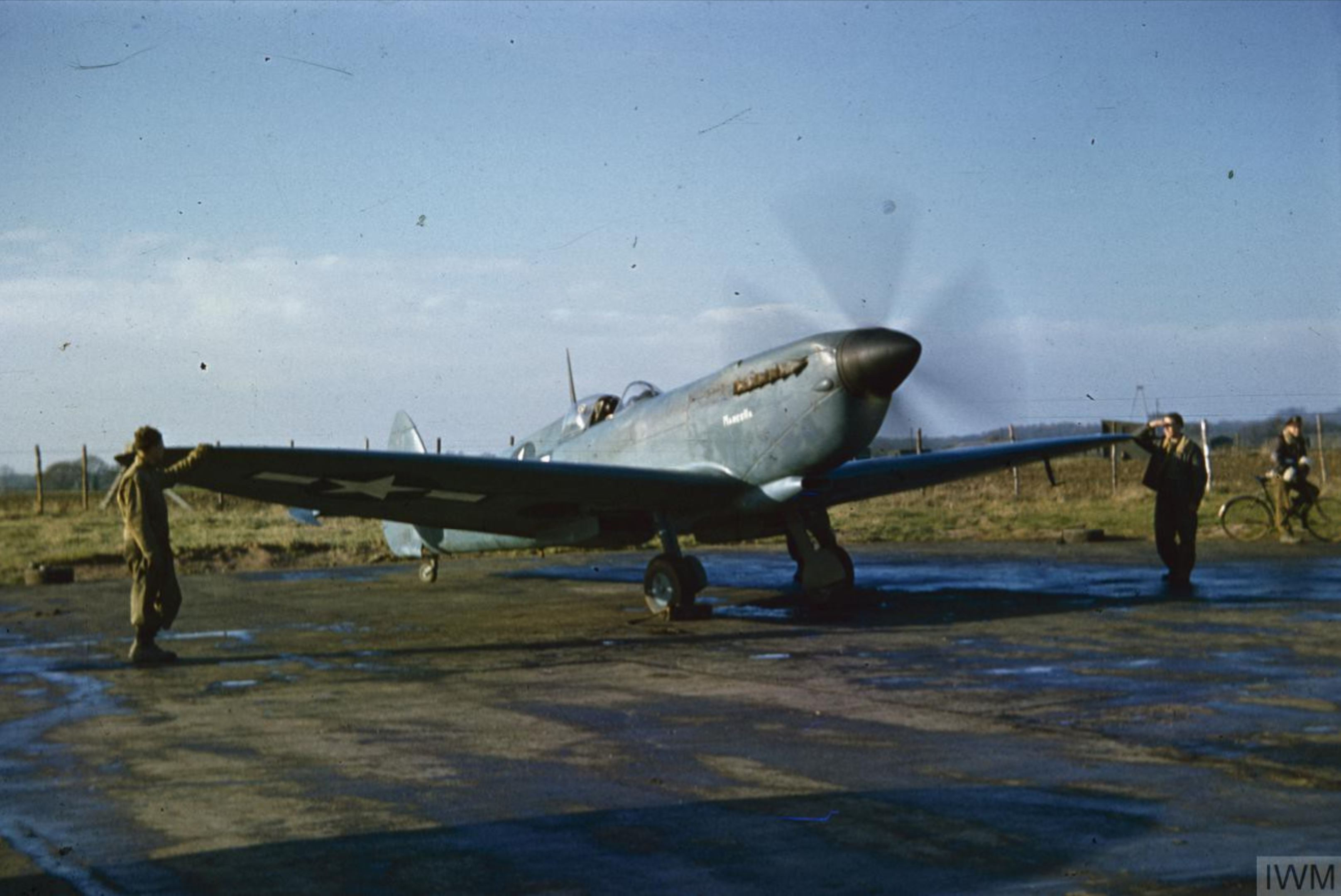 Spitfire PRXIT USAAF 7PRG14PS Marcella Oxfordshire 1944 IWM COL476
