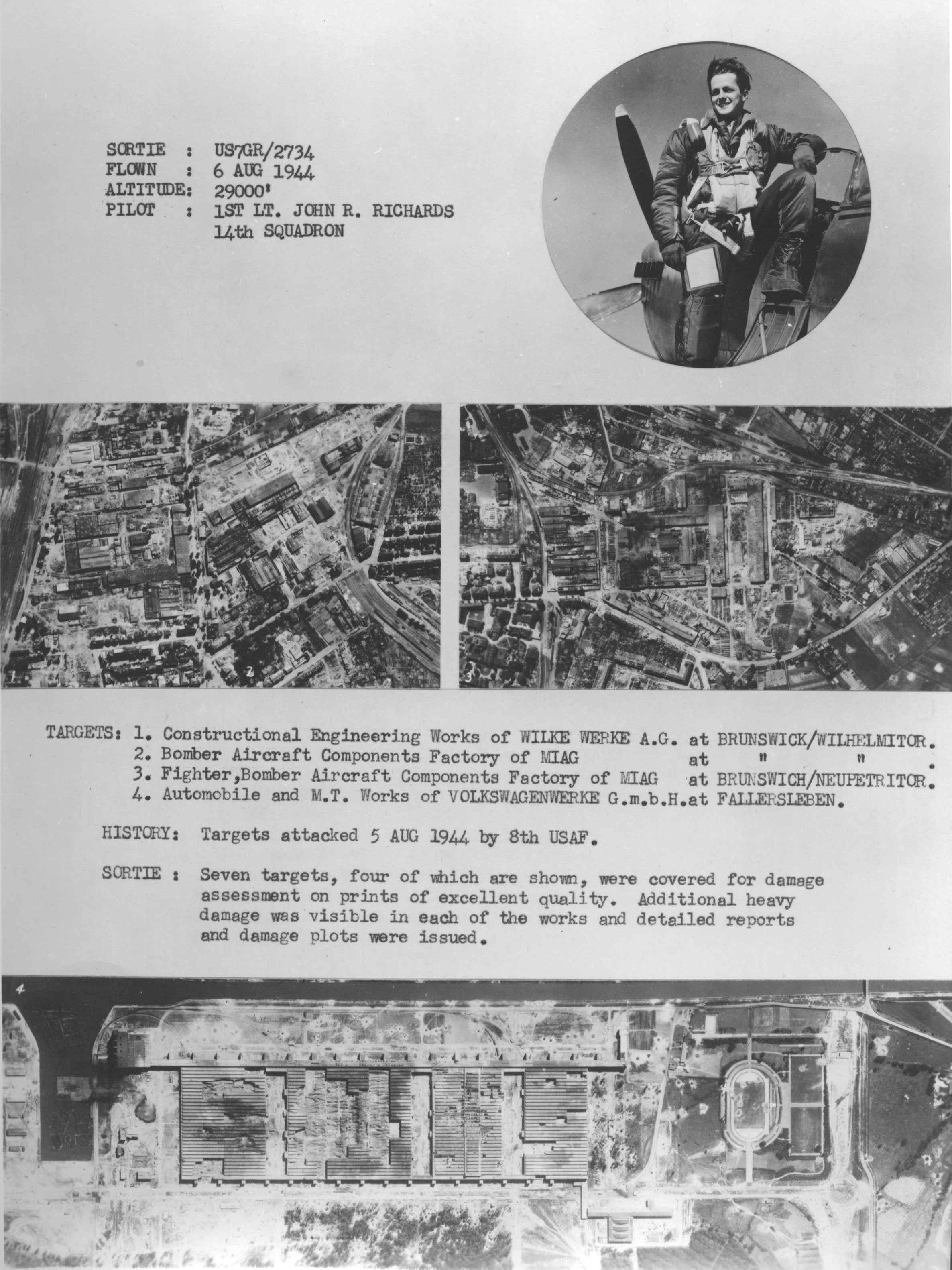 USAAAF 7PG aerial recon mission flown by Lt John R Richards August 6 1944 01