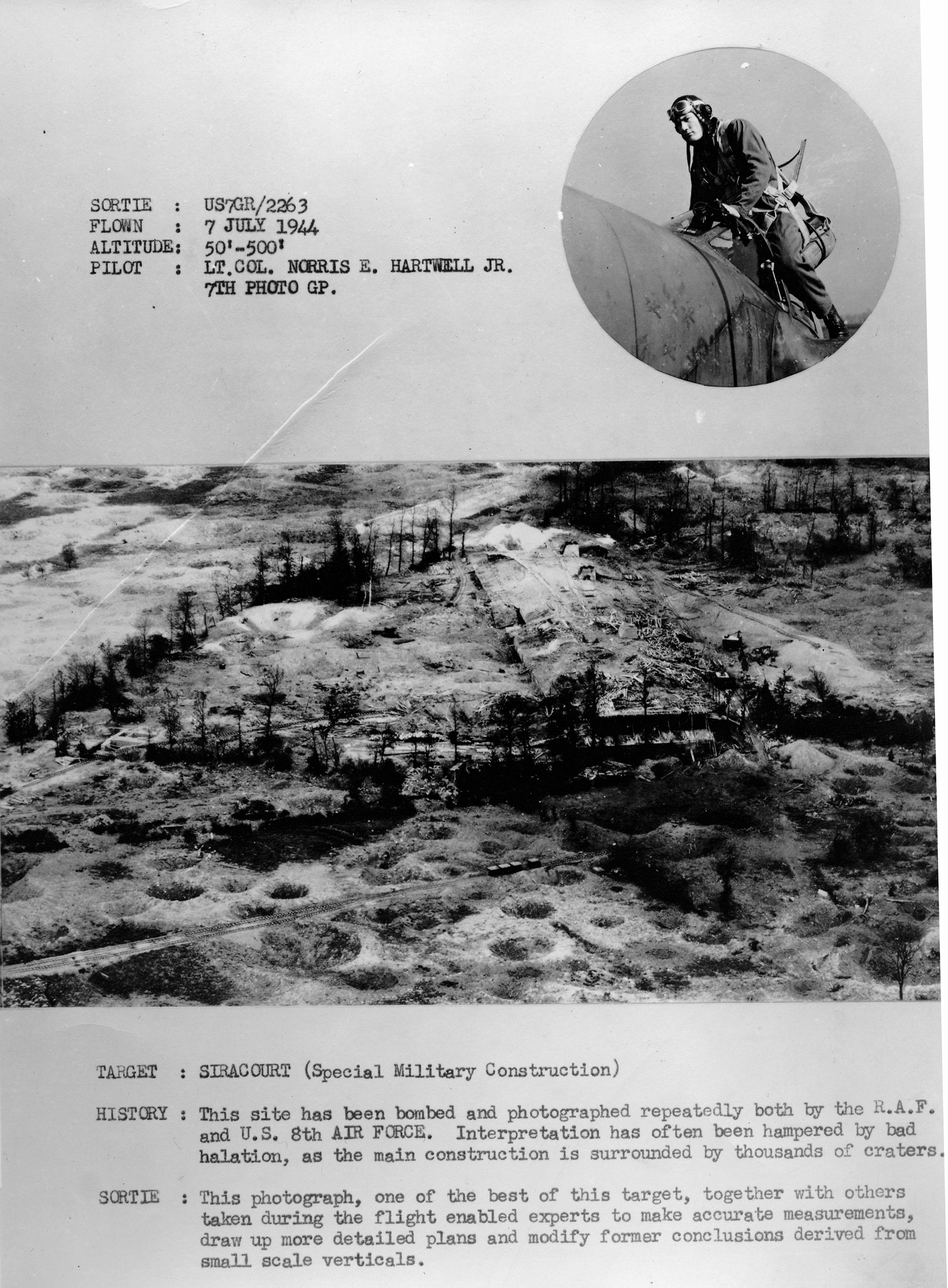 USAAAF 7PG aerial recon photo to Siracourt V Weapons Site 01