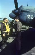 Asisbiz F5 Lighting USAAF 7PG22PS with Jim Wicker and Maj Robert R Smith at Mount Farm 22 Apr 1944 IWM FRE5410