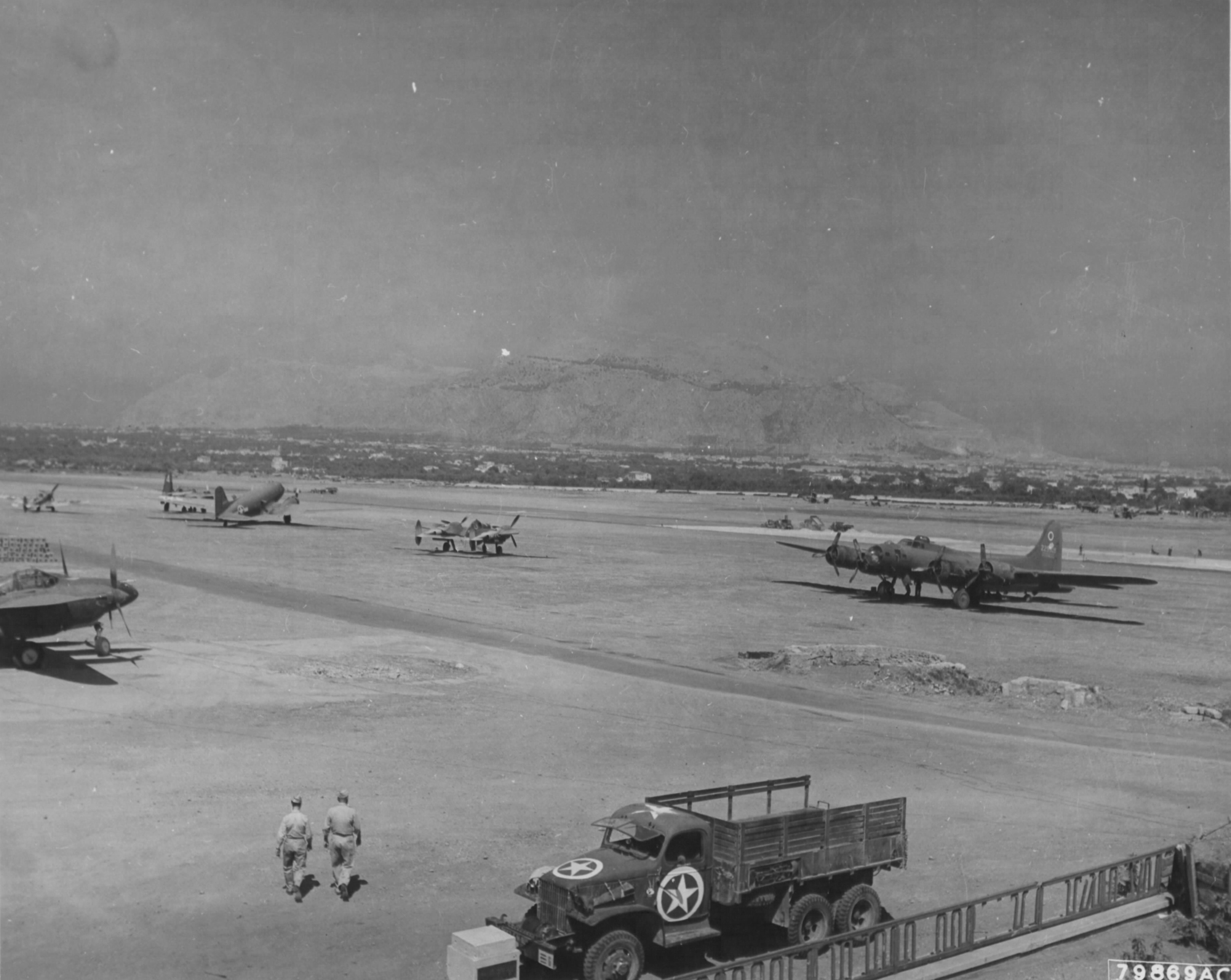 Airbase general view of an airfield at Palermo Sicily 2nd Oct 1943 01