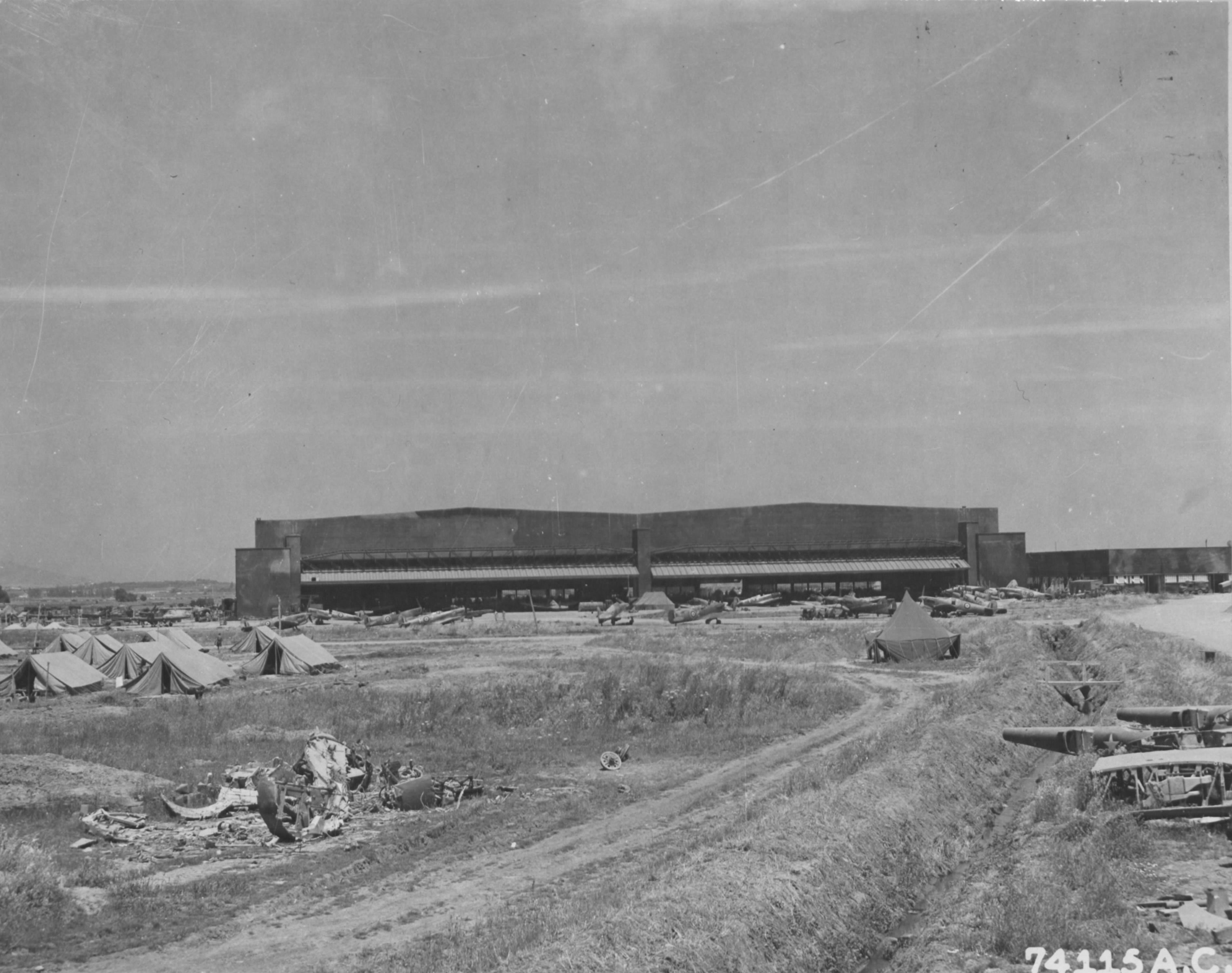 Airbase hangars at Maison Blanche Airfield Algiers Algeria June 1943 02