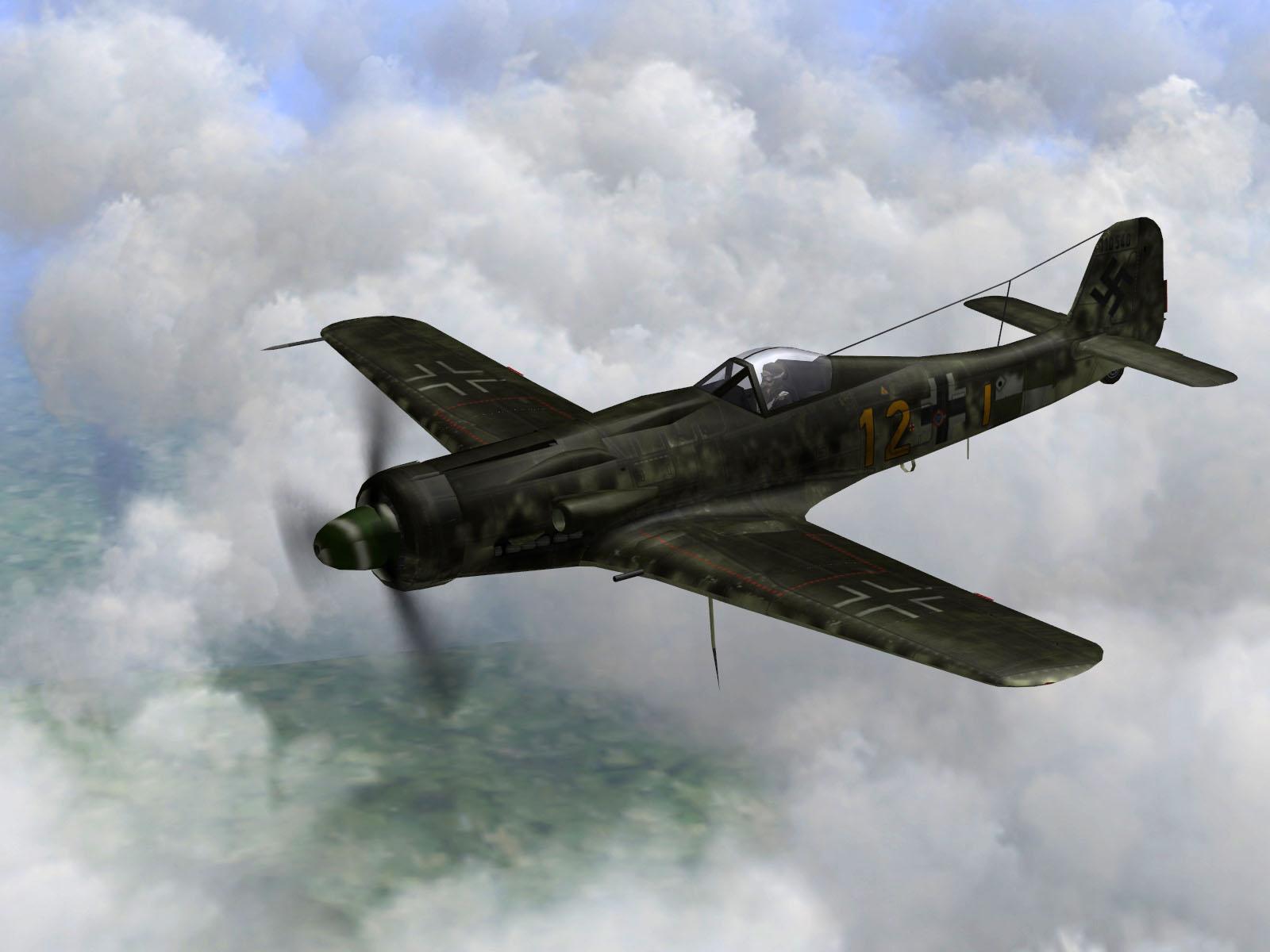 IL2 TT Ta 152C 9.KG27 yellow 12 on patrol over France 1944 V01