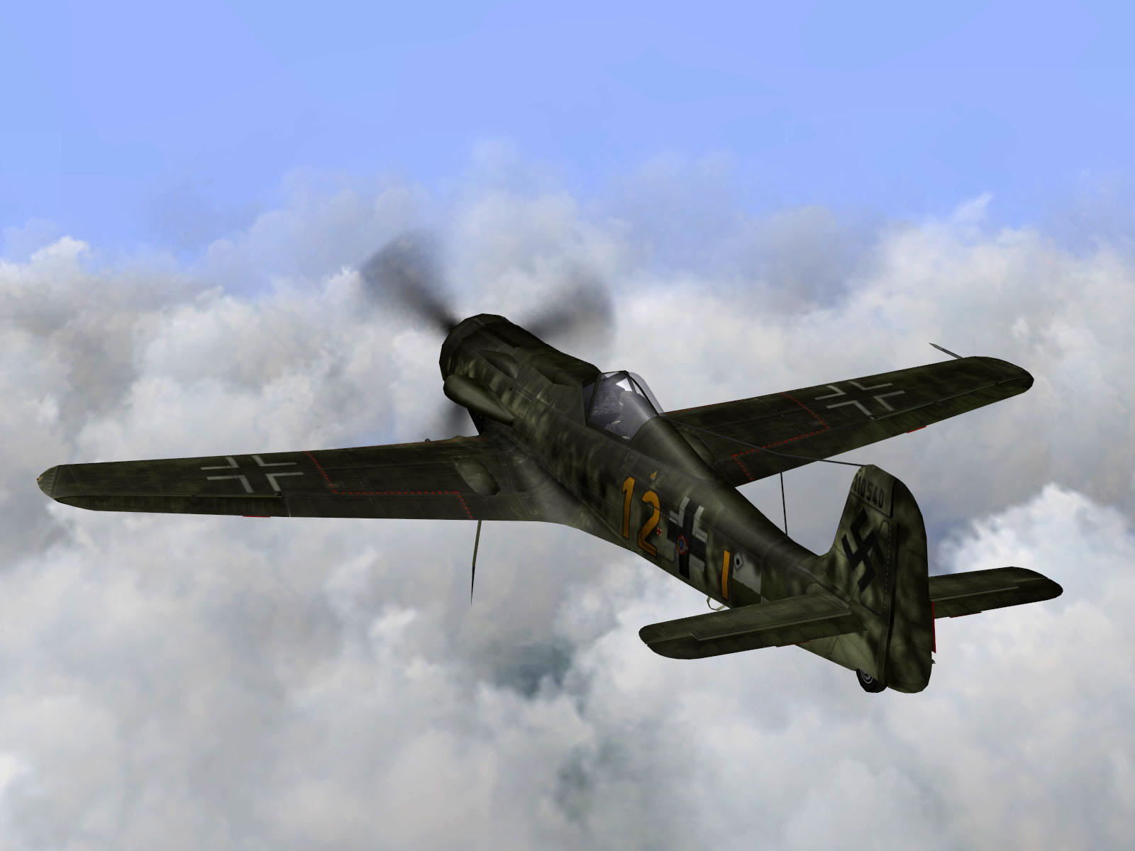 IL2 TT Ta 152C 9.KG27 yellow 12 on patrol over France 1944 V02
