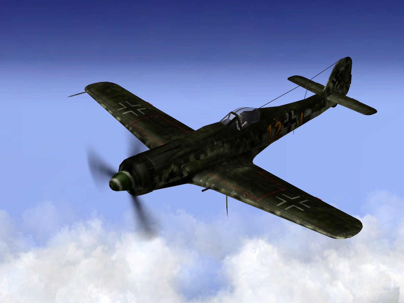 IL2 TT Ta 152C 9.KG27 yellow 12 on patrol over France 1944 V03