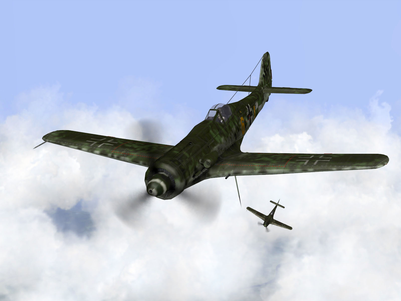 IL2 TT Ta 152C 9.KG27 yellow 6 on patrol over France 1944 V03
