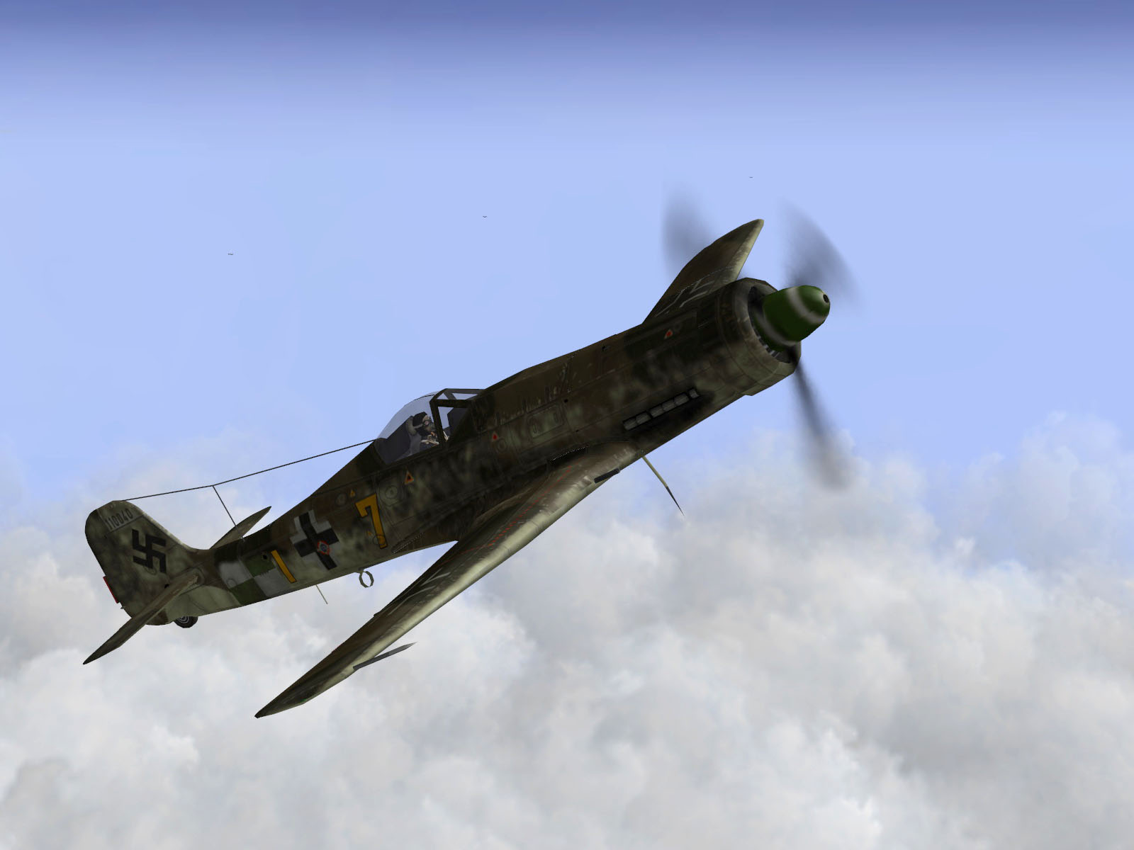 IL2 TT Ta 152C 9.KG27 yellow 7 climbing out of the soup V01