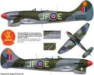 Asisbiz Artwork Profile Tempest MkV RAF 3Sqn JF E Pierre Clostermann NV874 England 1944 0A