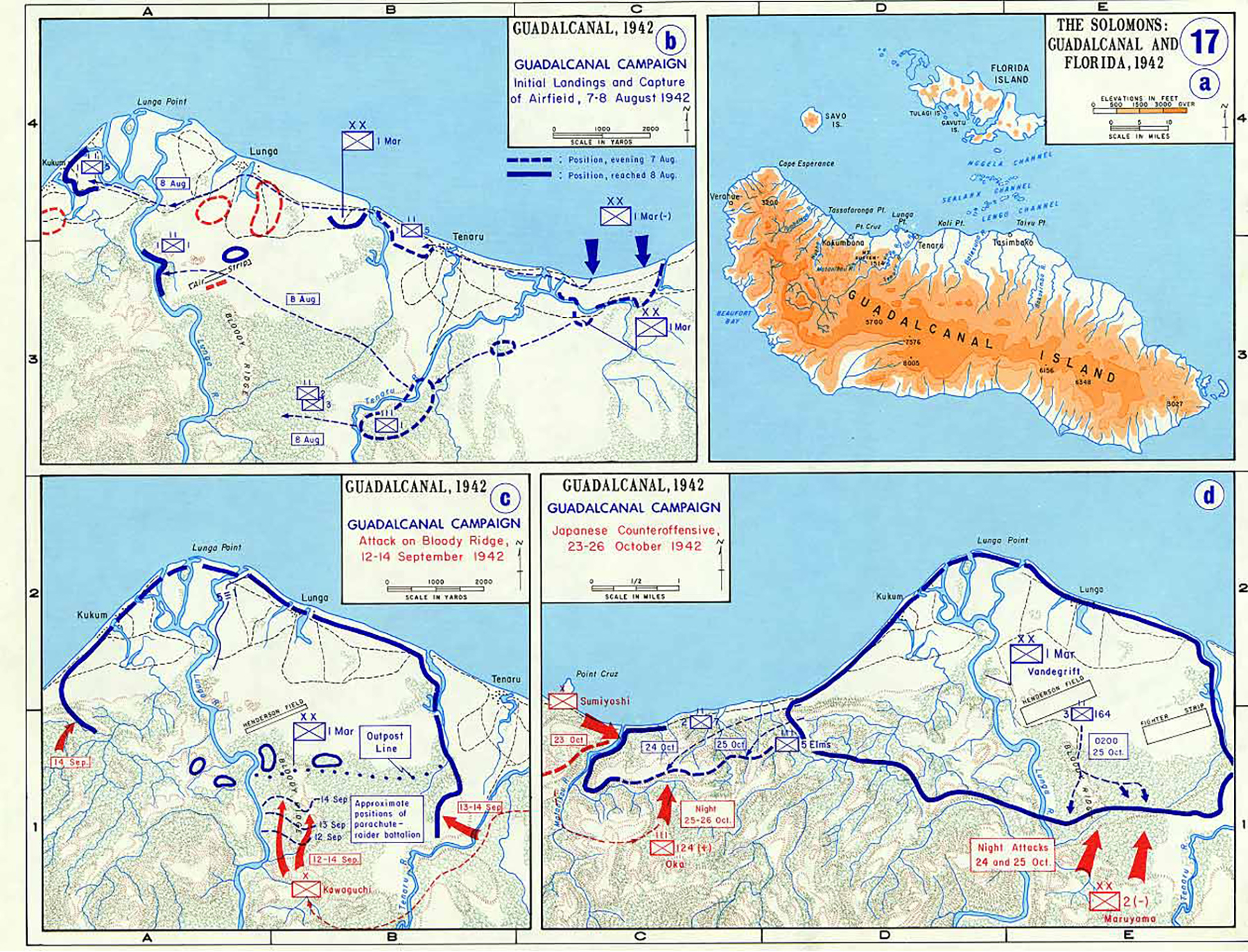 A Map WWII showing Guadalcanal Campaign Aug to Oct 1942