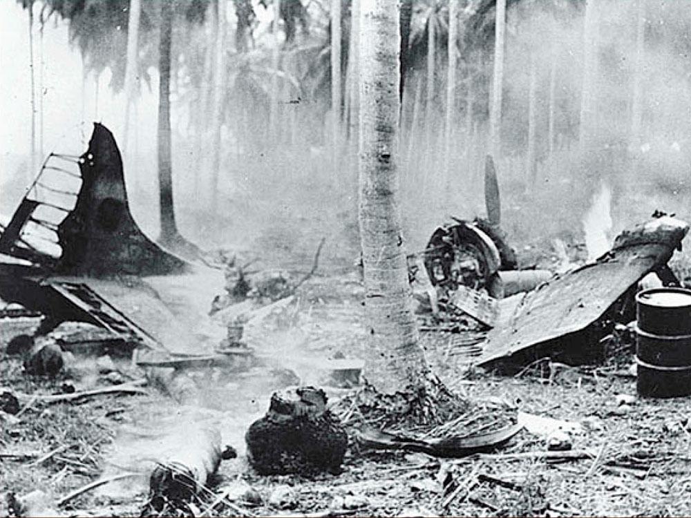 Grumman F4F 3 Wildcat destroyed during a Japanese raid Henderson Field Guadalcanal 1942 01