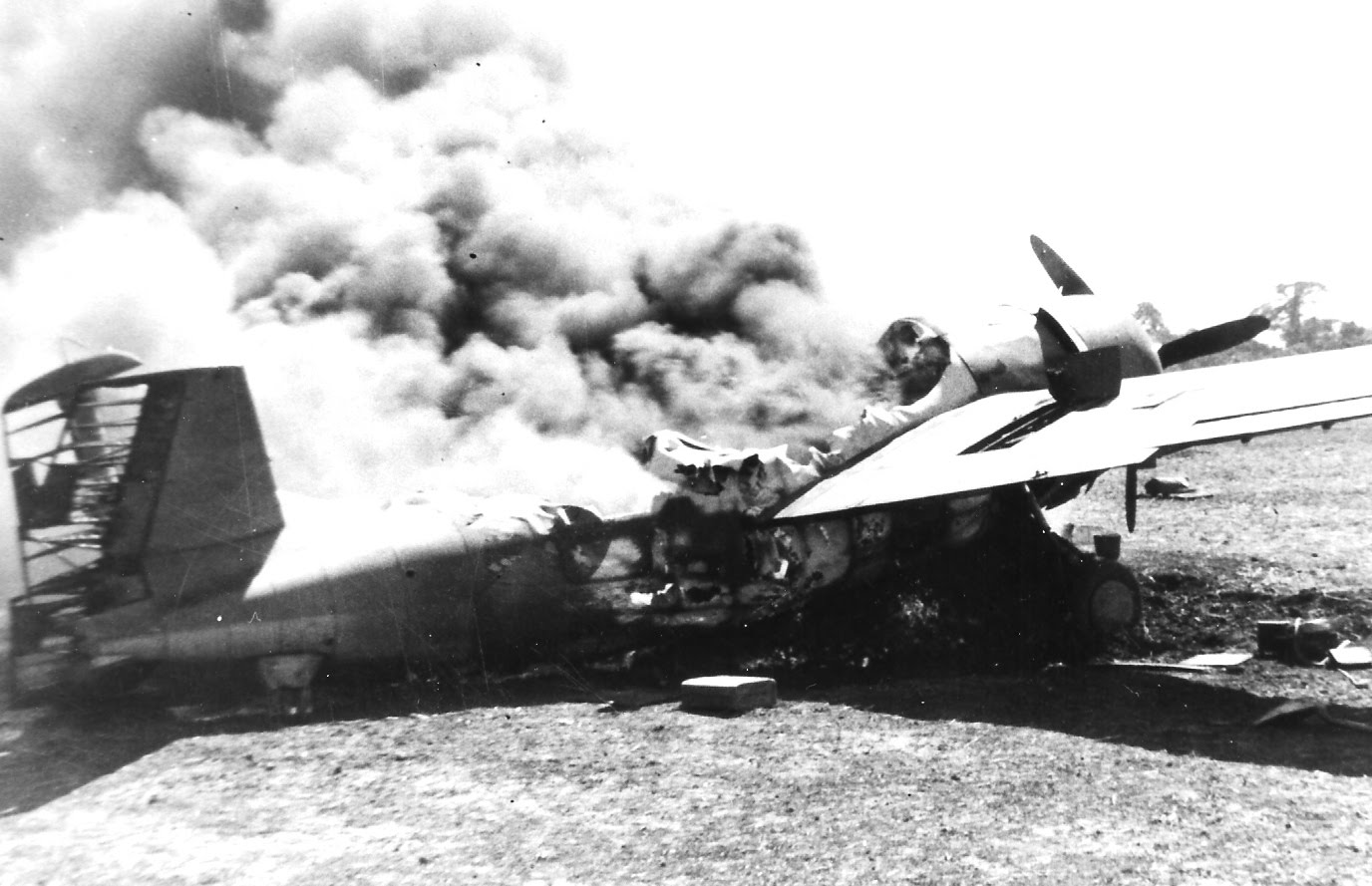 Grumman F4F 3 Wildcat destroyed during a Japanese raid Henderson Field Guadalcanal 1942 03