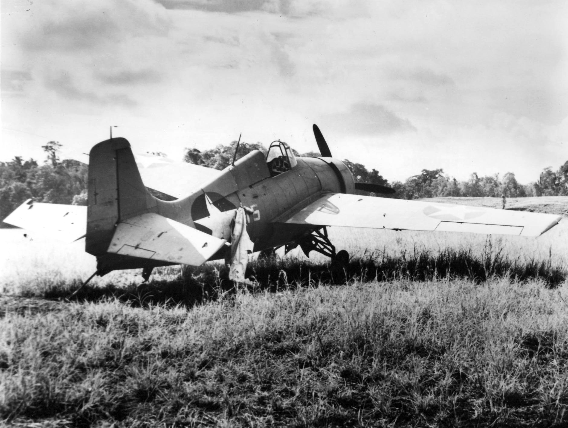 Grumman F4F 3 Wildcat with undercarriage problem Henderson Field Guadalcanal 1942 01