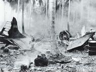 Asisbiz Grumman F4F 3 Wildcat destroyed during a Japanese raid Henderson Field Guadalcanal 1942 01