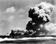 Asisbiz USS Wasp CV 7 burning after being hit by 3 torpedoes from Japanese submarine I 19 15th Sep 1942 01