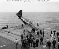Asisbiz FM 2 Wildcat White M3 from USS Stable during barrier crash May 1945 01