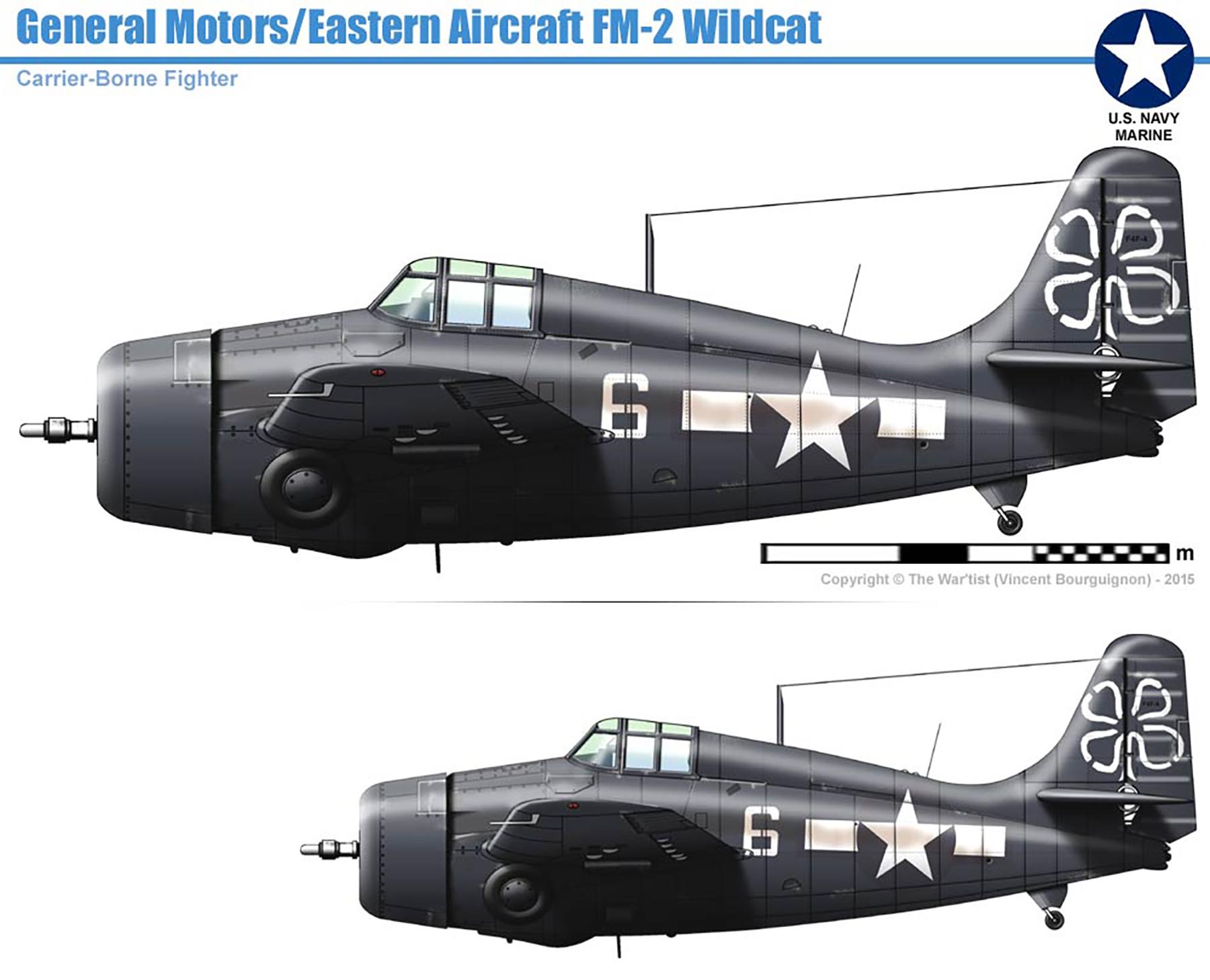 FM 2 Wildcat VC 93 White 6 aboard CVE 80 USS Petrof Bay 1944 0A