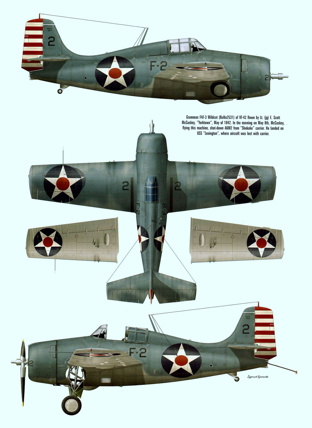 Grumman F4F 3 Wildcat VF 3 Black F2 BuNo 2531 LTjg E Scot McCuskey aboard CV 5 USS Yorktown May 1942 0A