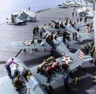 Asisbiz Grumman F4F 3 Wildcat VF 6 Black 6F5, 6F3 and 6F2 being mission readied 1942 01