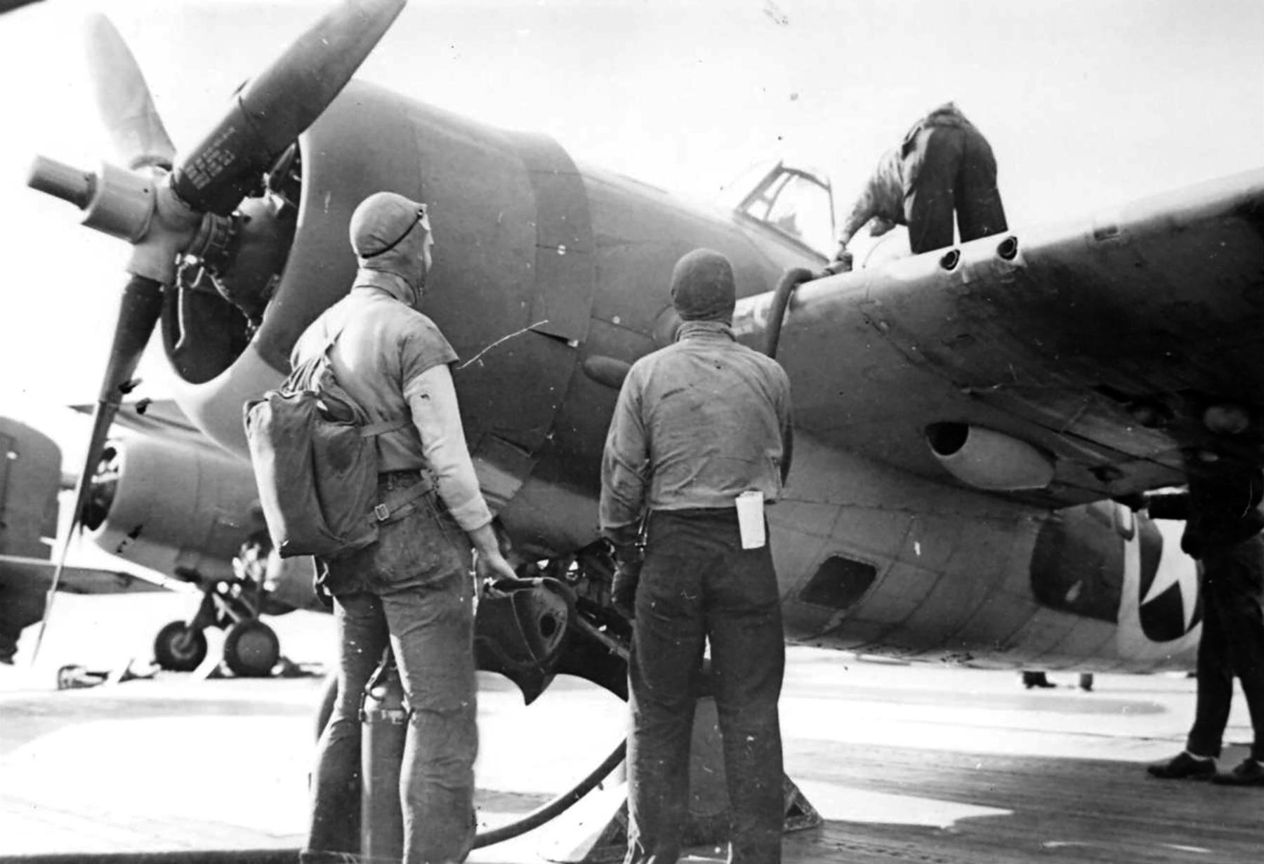 Grumman F4F 4 Wildcat VF 9 Black 9F20 or VF41 refueling after first strike CV 4 USS Ranger Nov 1942 01