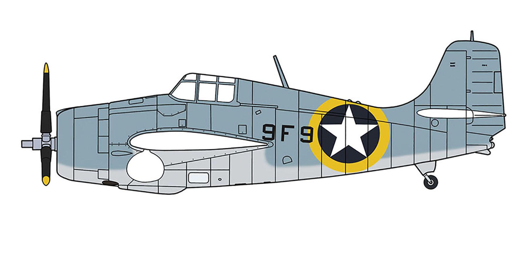 Grumman F4F 4 Wildcat VF 9 Black 9F9 aboard CV 4 USS Ranger Nov 1942 0A