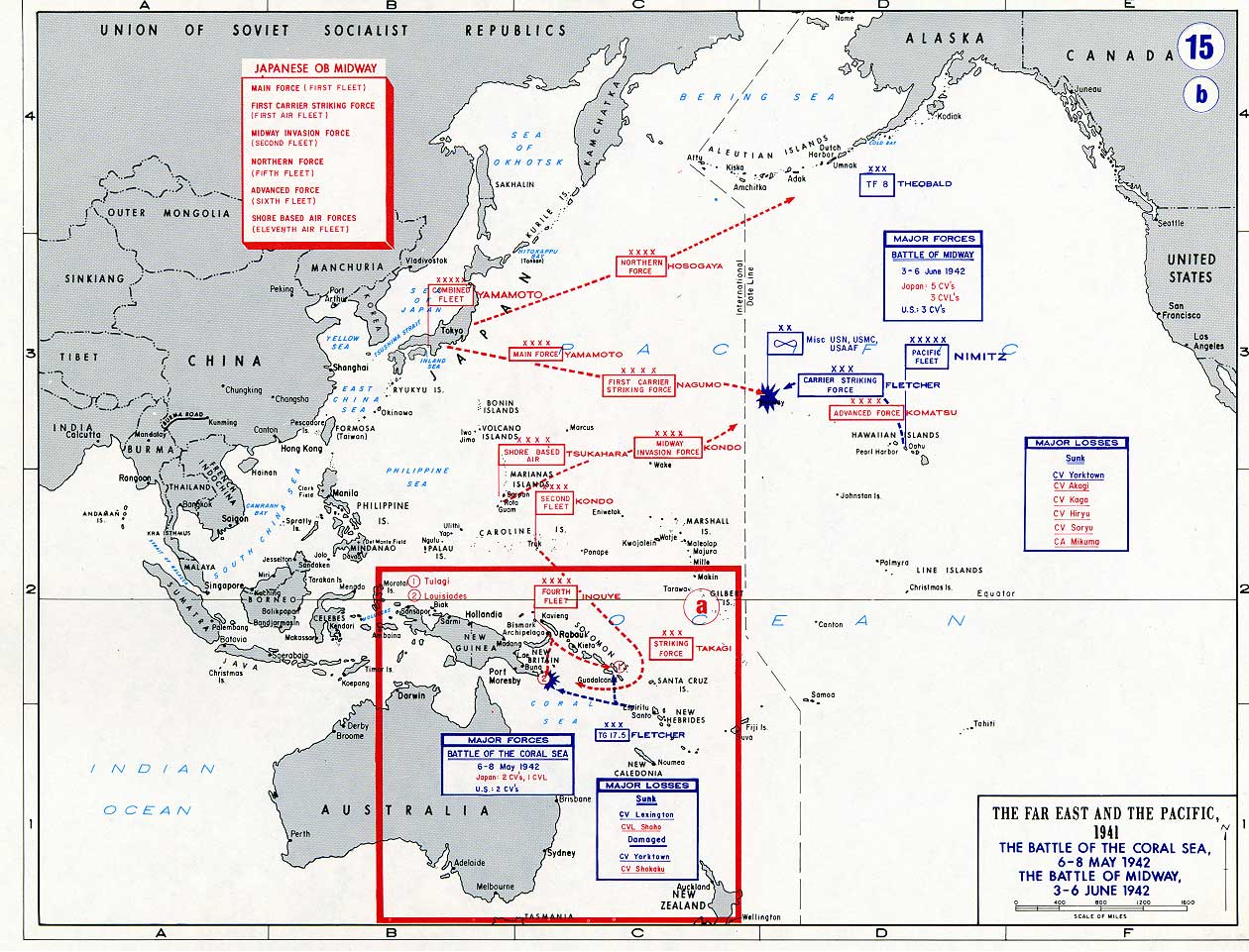 A Map WWII showing Battle of the Coral Sea and Battle of Midway 1942
