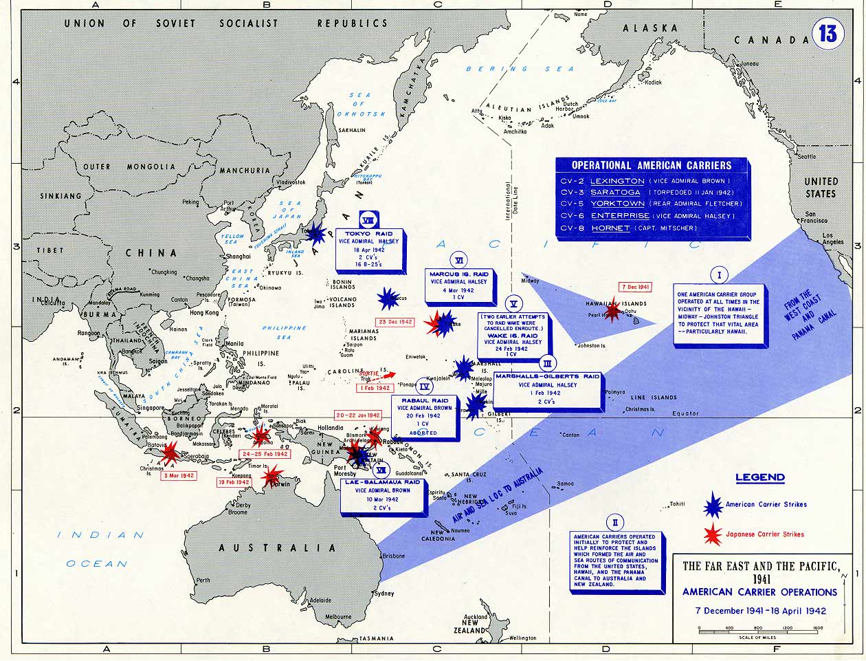 A Map WWII showing Carrier Operations Dec 1941 to Apr 1942