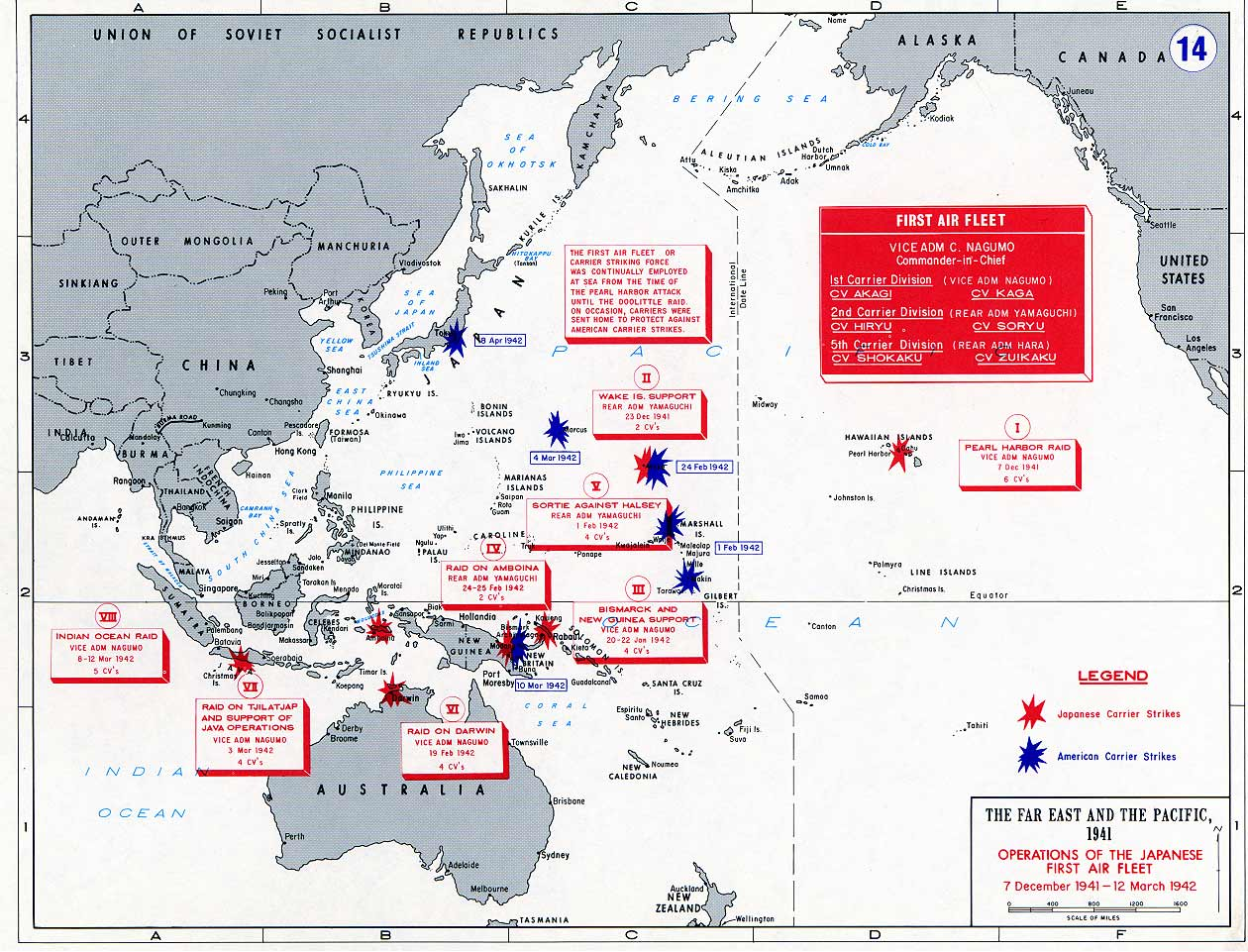 A Map WWII showing First Air Fleet operations March 1942