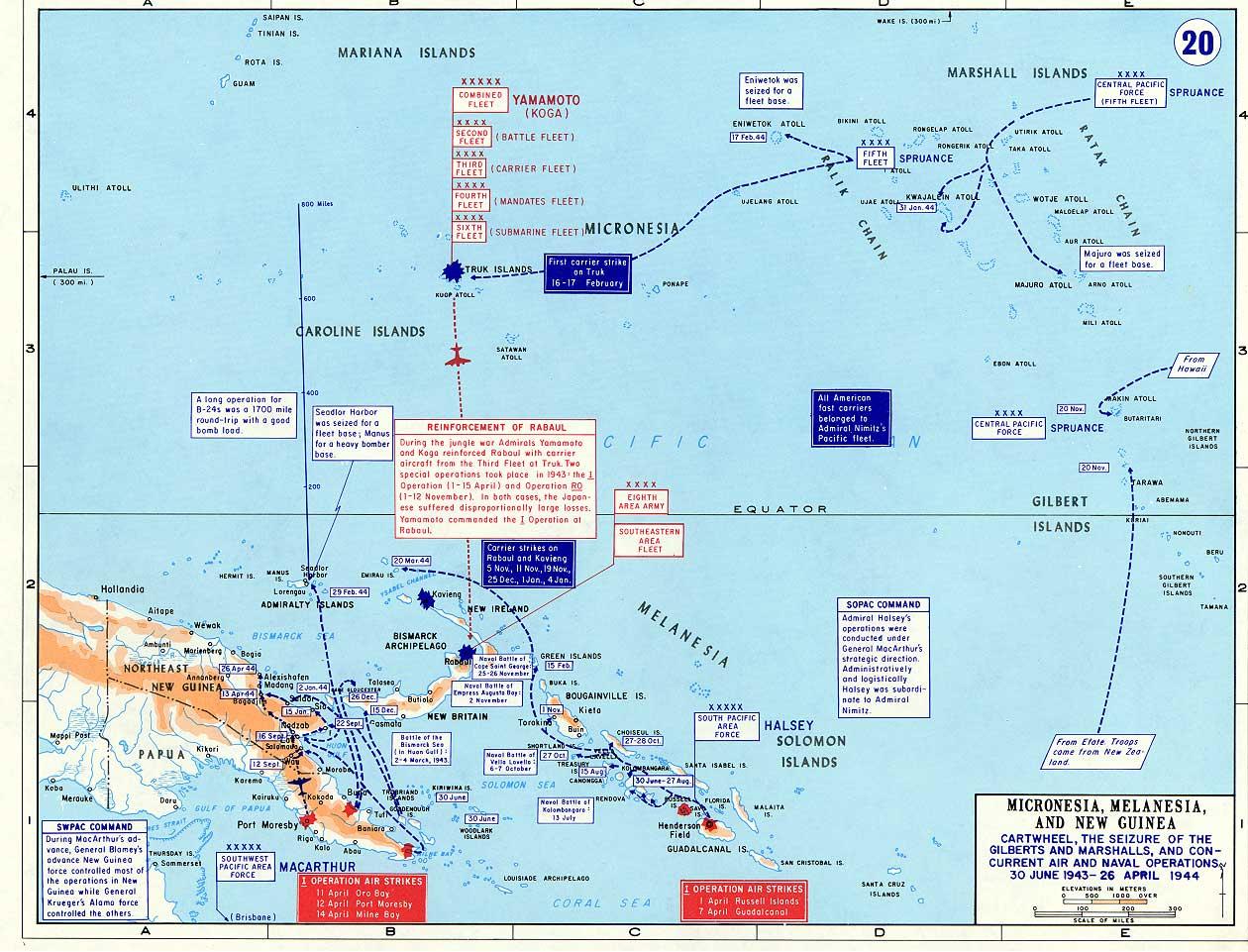 A Map WWII showing Operation Cartwheel Jun 1943 to Apr 1944