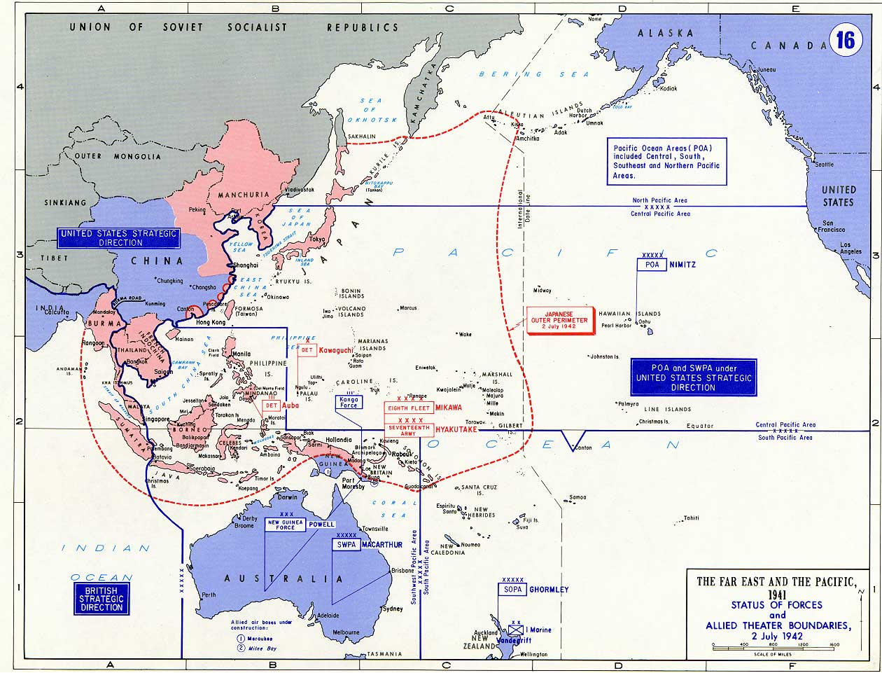 A Map WWII showing PTO boundaries July 1942