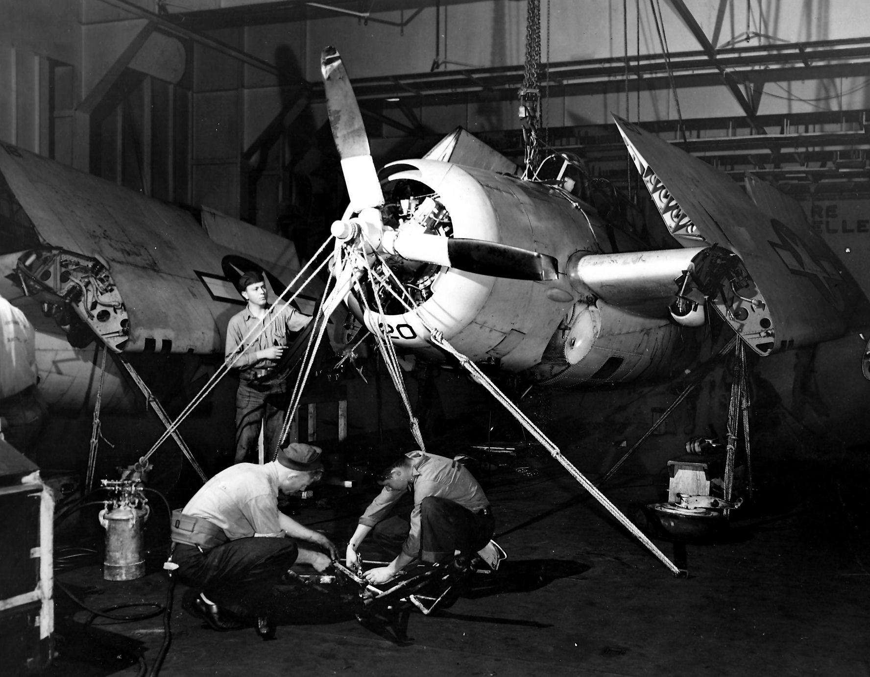 Aircrew Ensign R K Rountree photo series FM 1 Wildcat Black 20 landing gear repairs April 1944 01