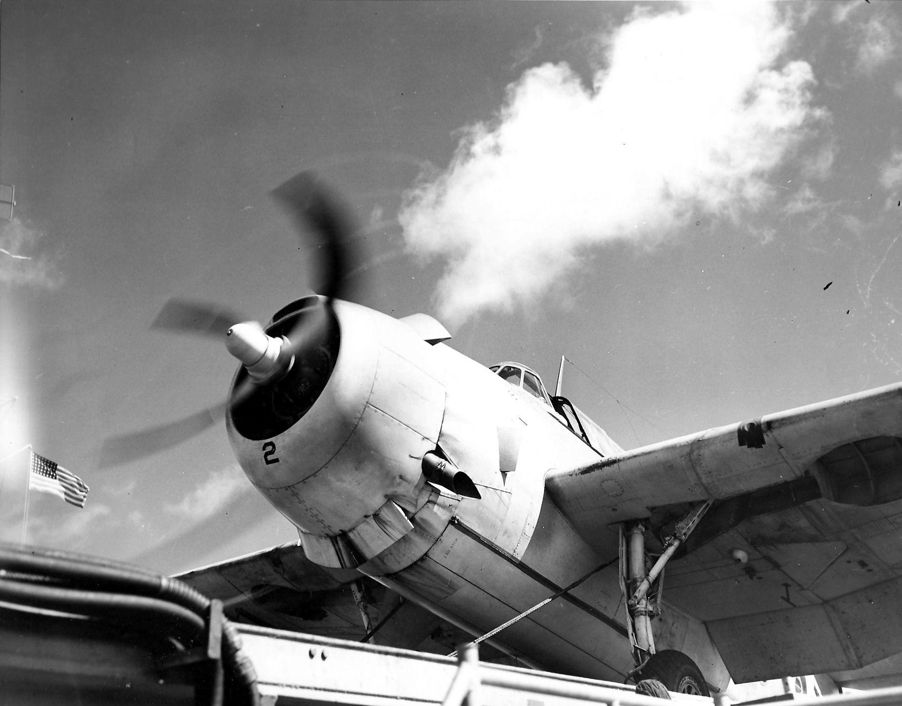 Aircrew TBF Avenger pilot Ensign R K Rountree Black 2 on deck photo series April 1944 01