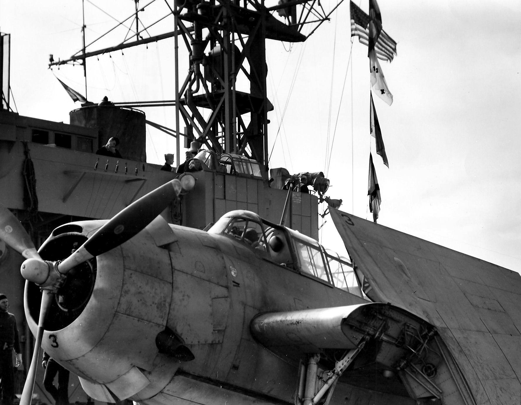 Aircrew TBF Avenger pilot Ensign R K Rountree Black 3 on deck photo series April 1944 01