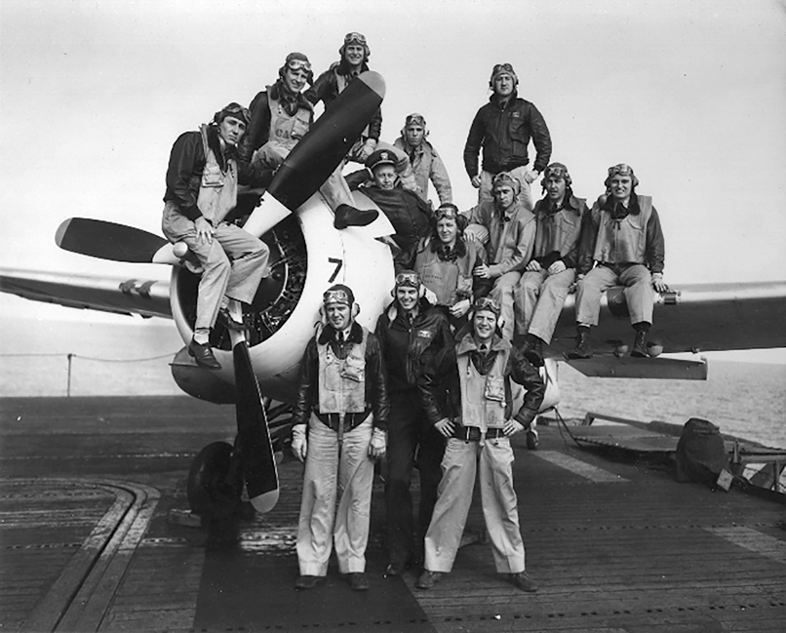 Aircrew USN VC 58 VF pilots onboard USS Guadalcanal 15th April 1944 01
