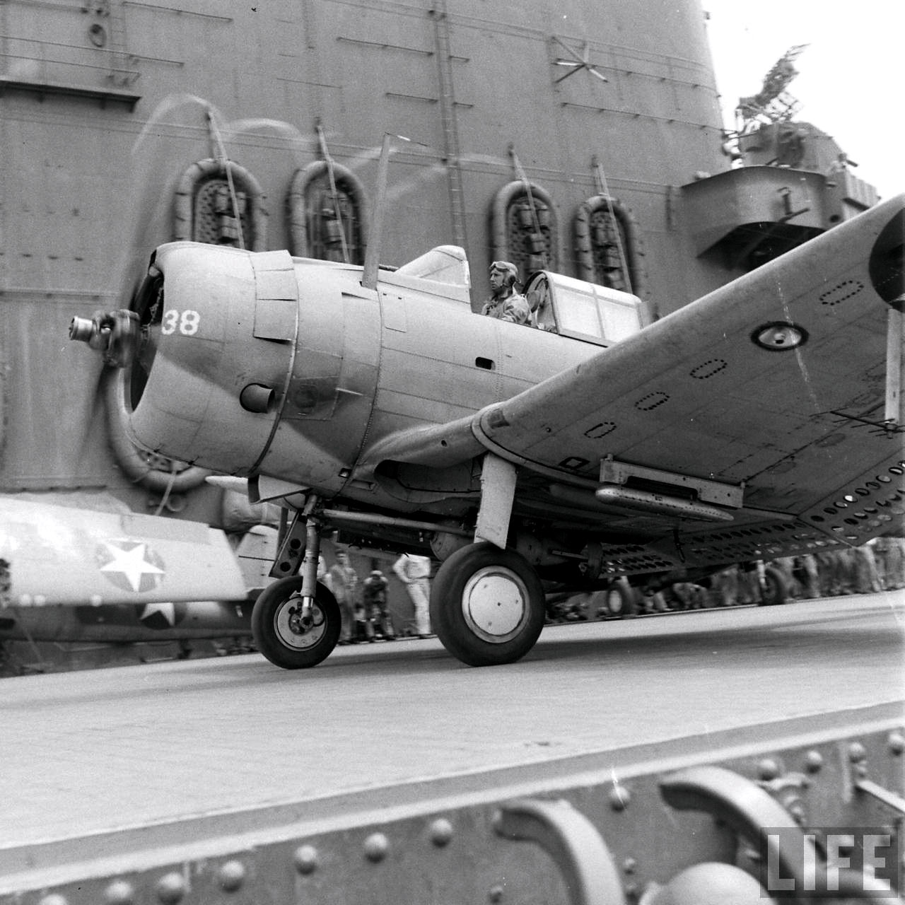 Douglas SBD 3 Dauntless White 38 taxing aboard a USS Carrier Sep 1942 01