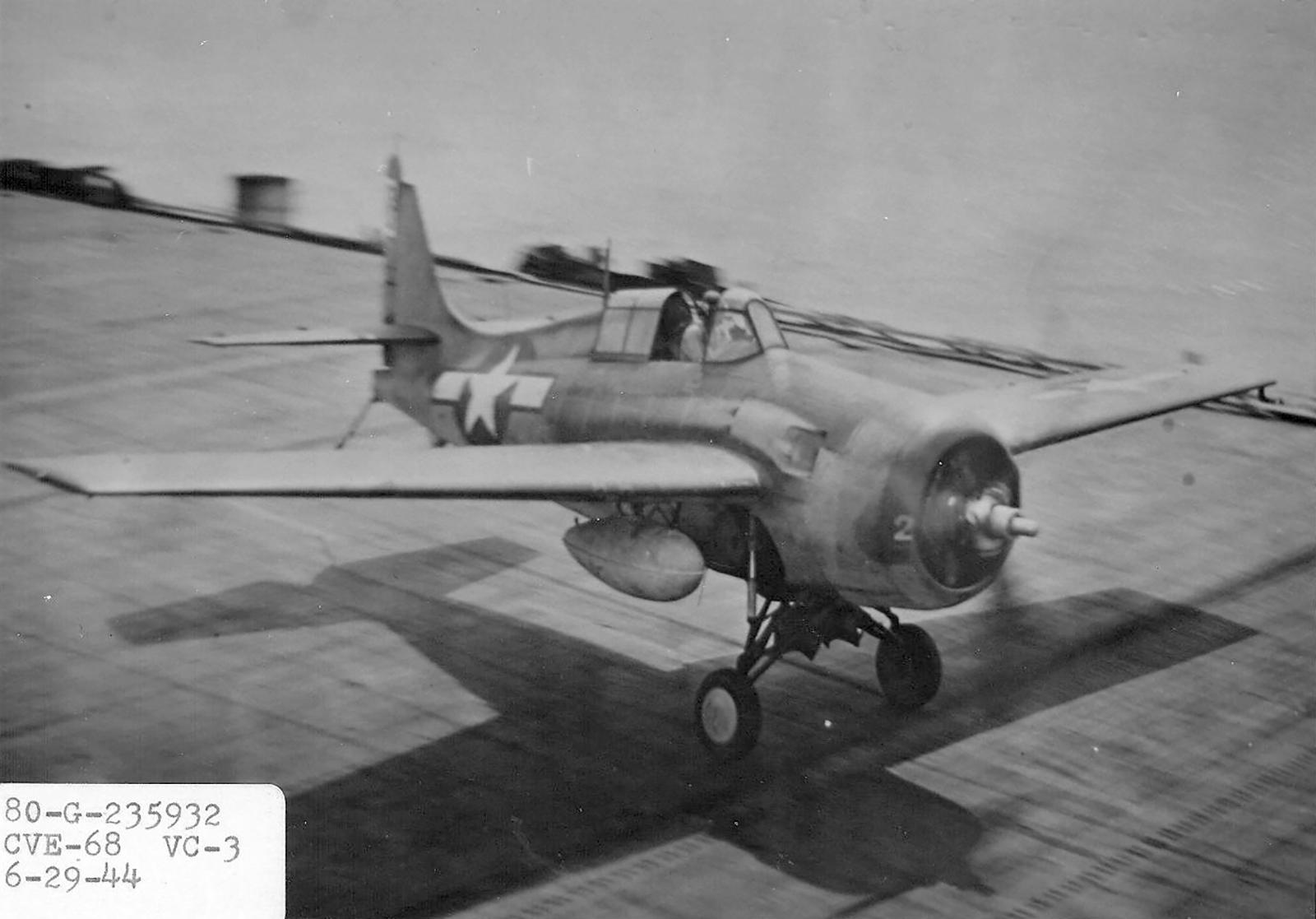 FM 1 Wildcat VC 3 White 2 landing aboard CVE 68 USS Kalanin Bay 1944 01