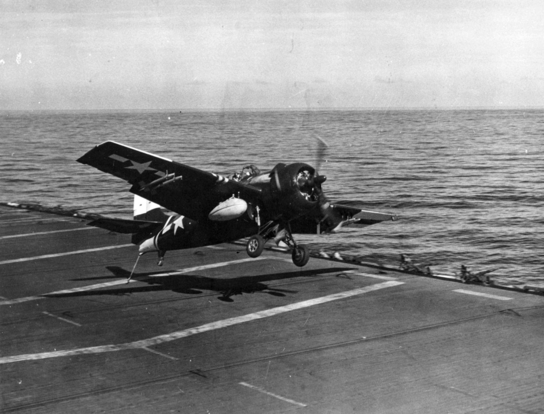 FM 2 Wildcat VC 70 trying to land CVE 96 USS Salamaua 1945 01
