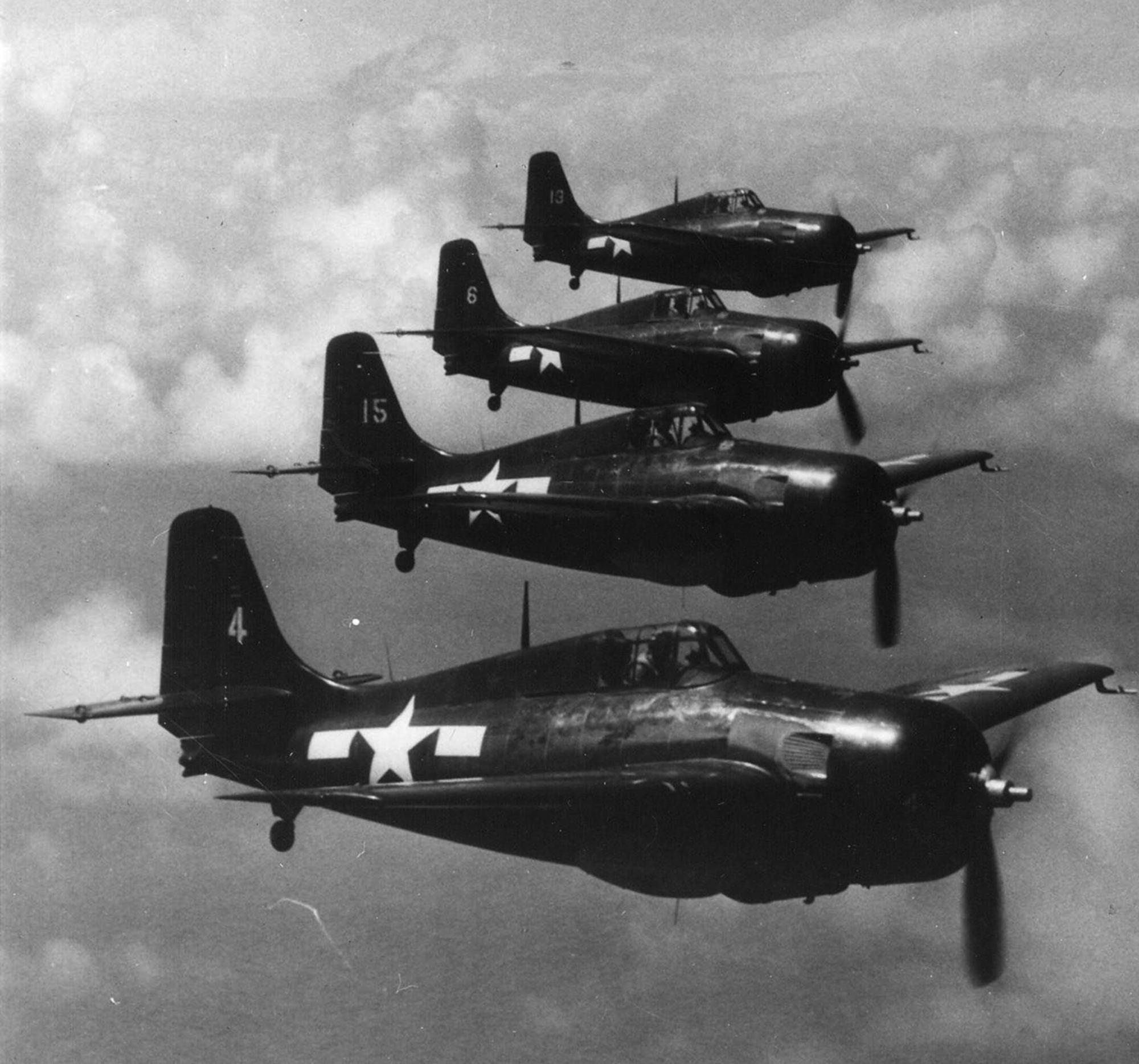 FM 2 Wildcat VC 77 Yellow 4,15,6 and 9 CVE 81 USS Rudyerd Bay 1945 01